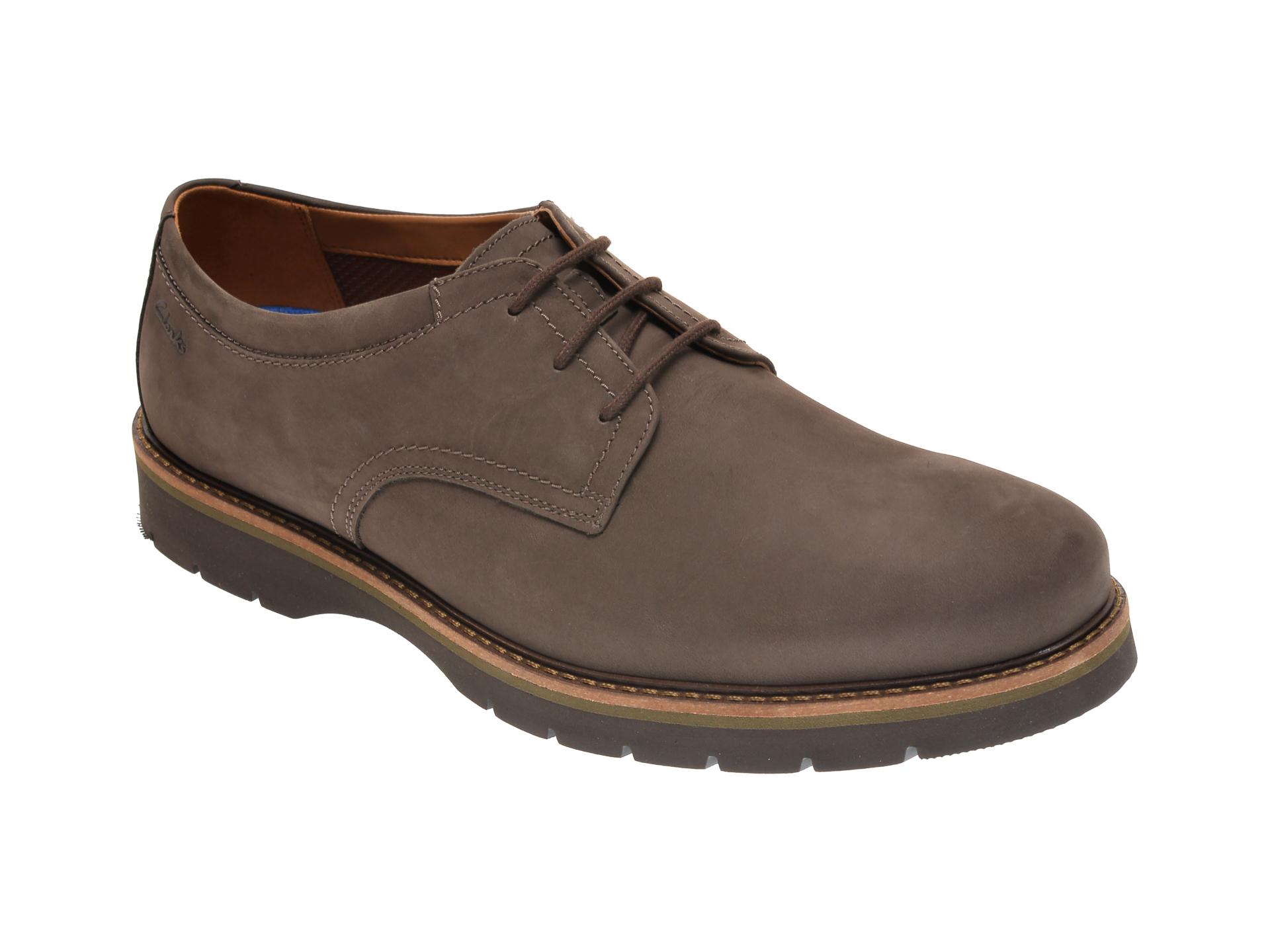 Pantofi CLARKS maro, BAYHILL PLAIN, din nabuc imagine