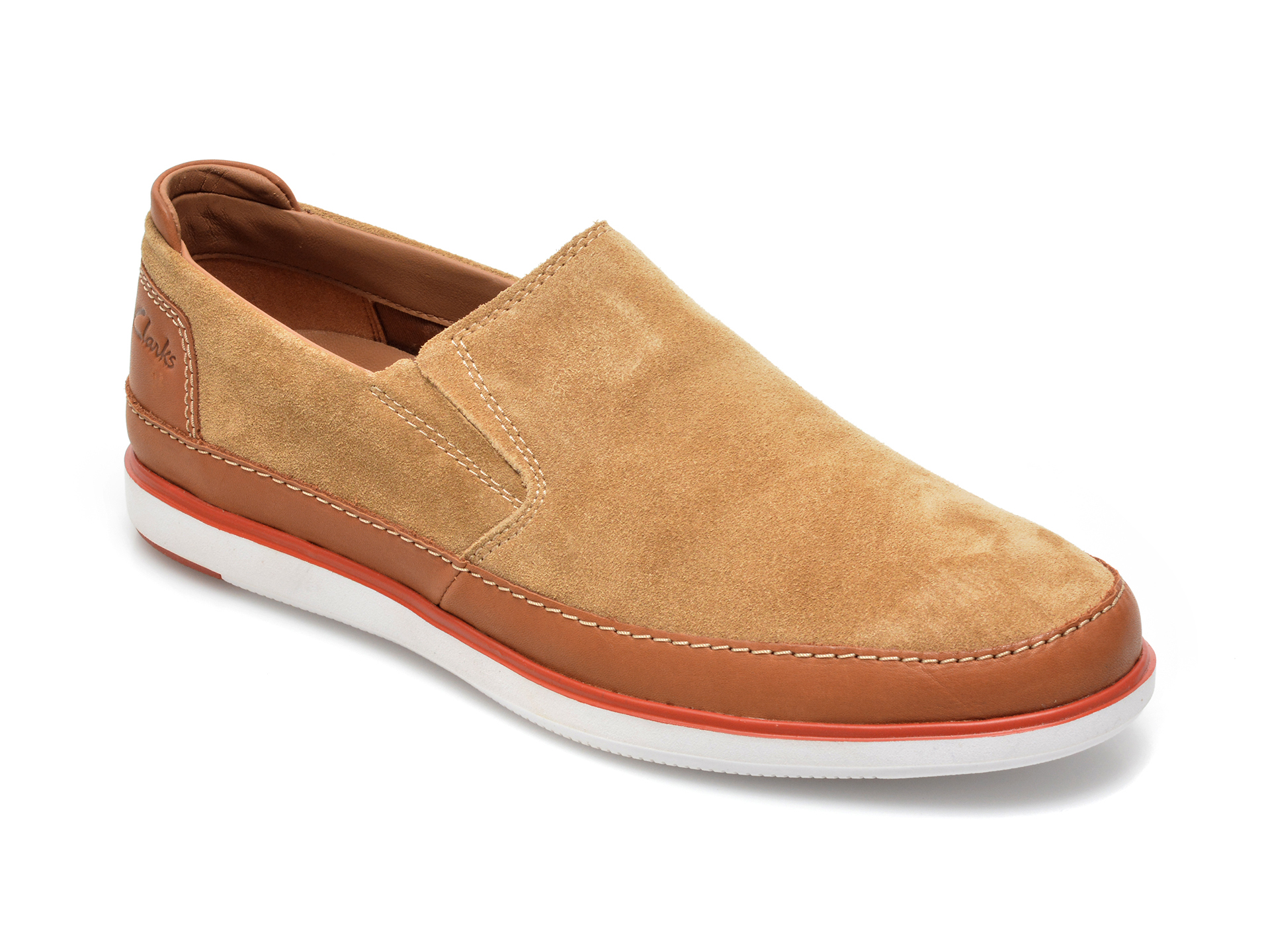 Pantofi Clarks Maro, Bratton Step, Din Piele Intoarsa
