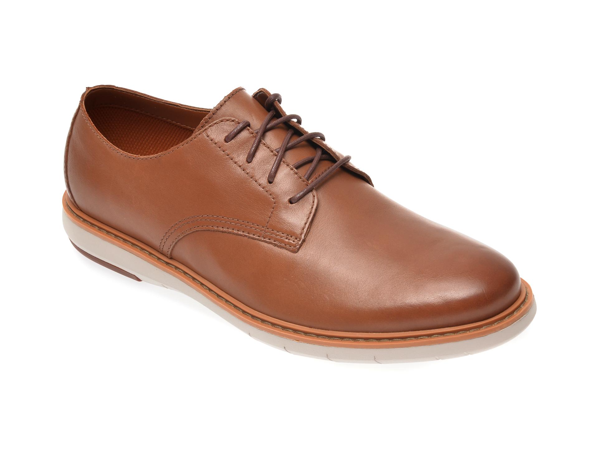 Pantofi CLARKS maro, Draper Lace, din piele naturala imagine