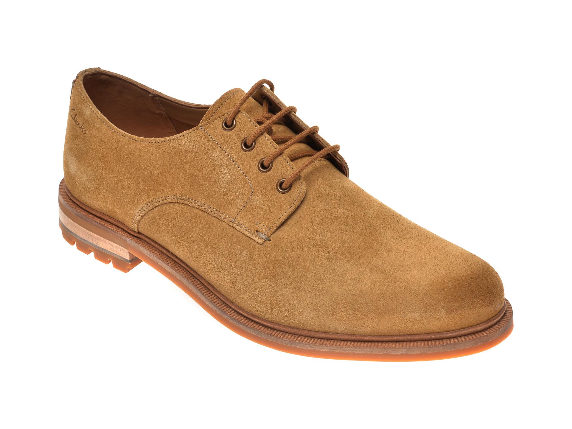 Pantofi CLARKS maro, Foxwell Hall, din piele intoarsa imagine