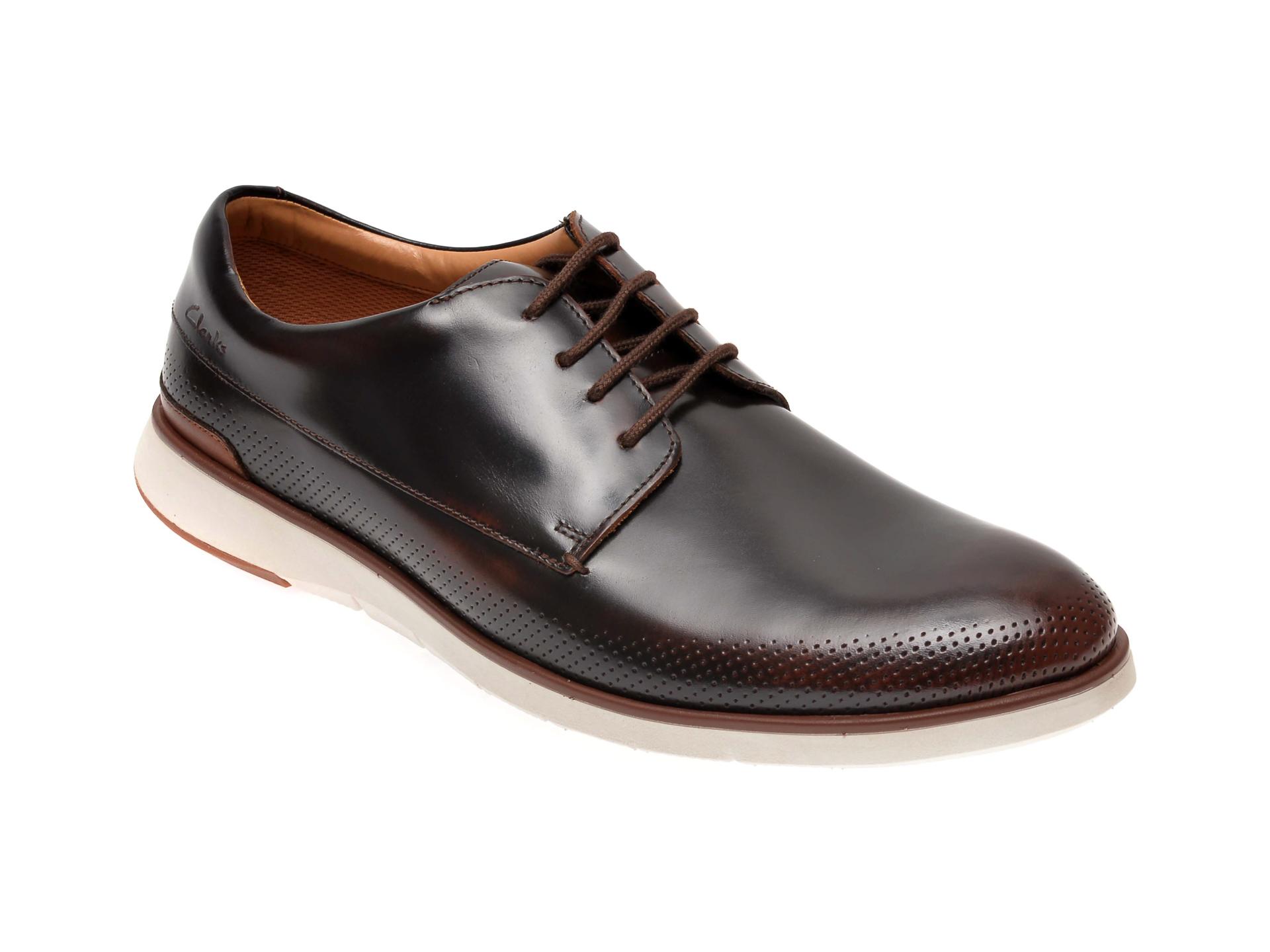 Pantofi CLARKS maro, Helston Walk, din piele naturala imagine