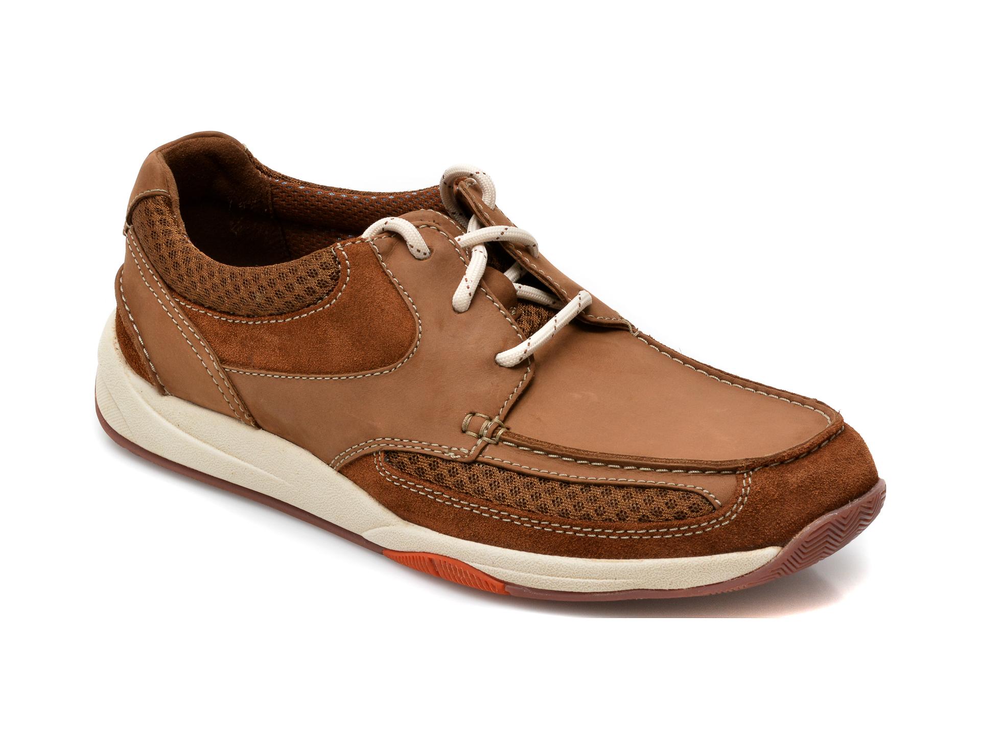 Pantofi CLARKS maro, Langton Lane, din nabuc imagine otter.ro 2021