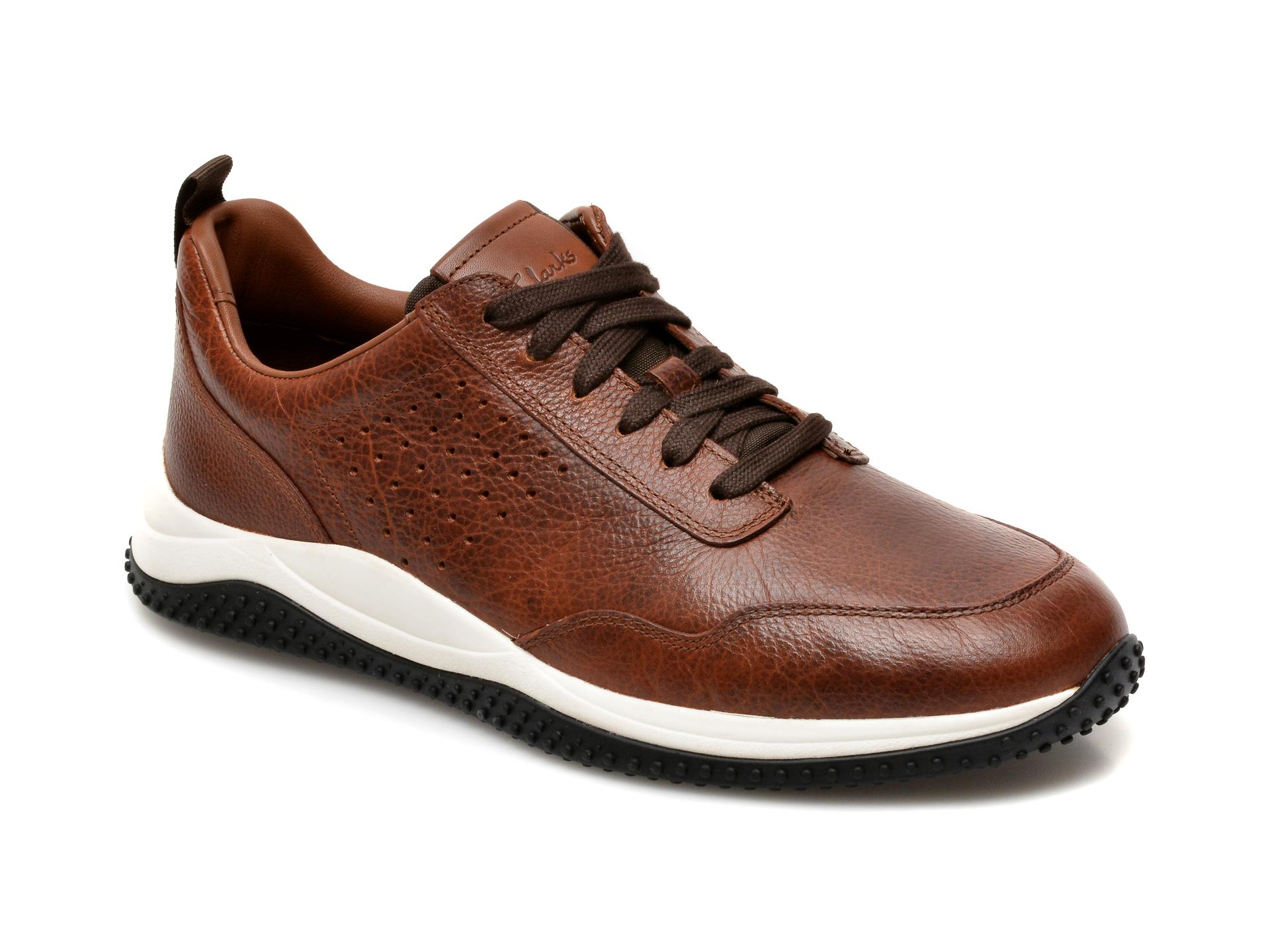 Pantofi CLARKS maro, Puxton Lace, din piele naturala imagine otter.ro
