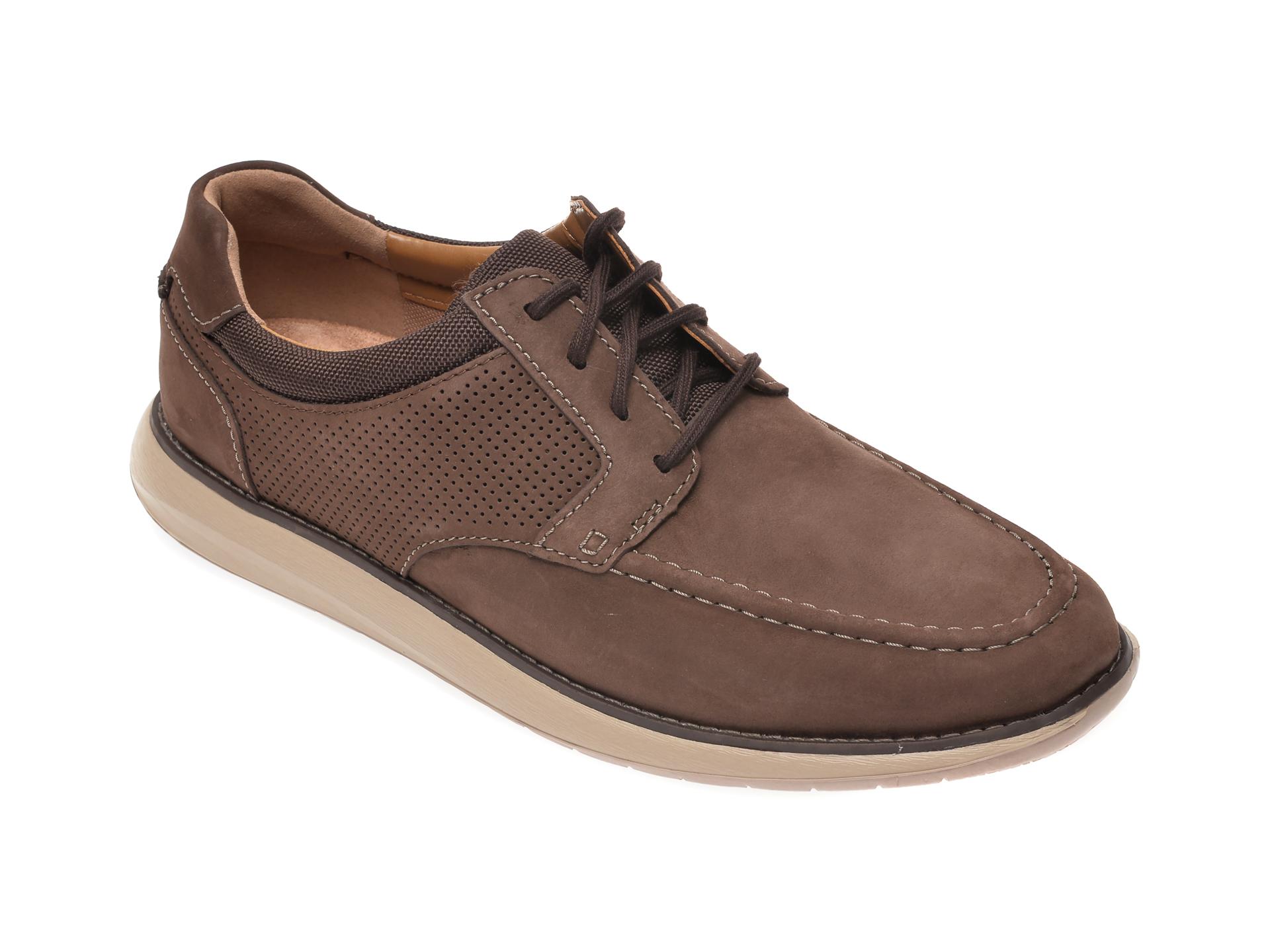 Pantofi CLARKS maro, Un Pilot Tie, din nabuc imagine