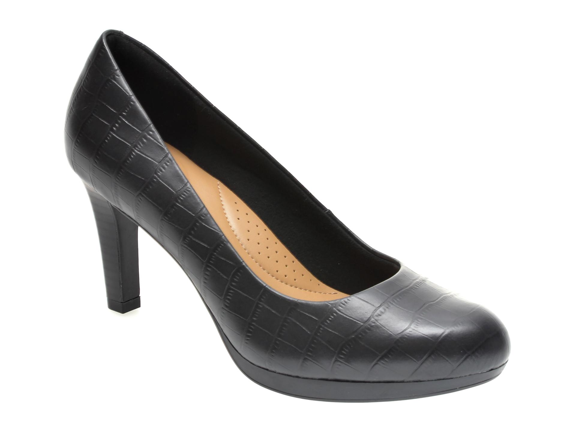 Pantofi CLARKS negri, ADRIEL VIOLA, din piele croco imagine