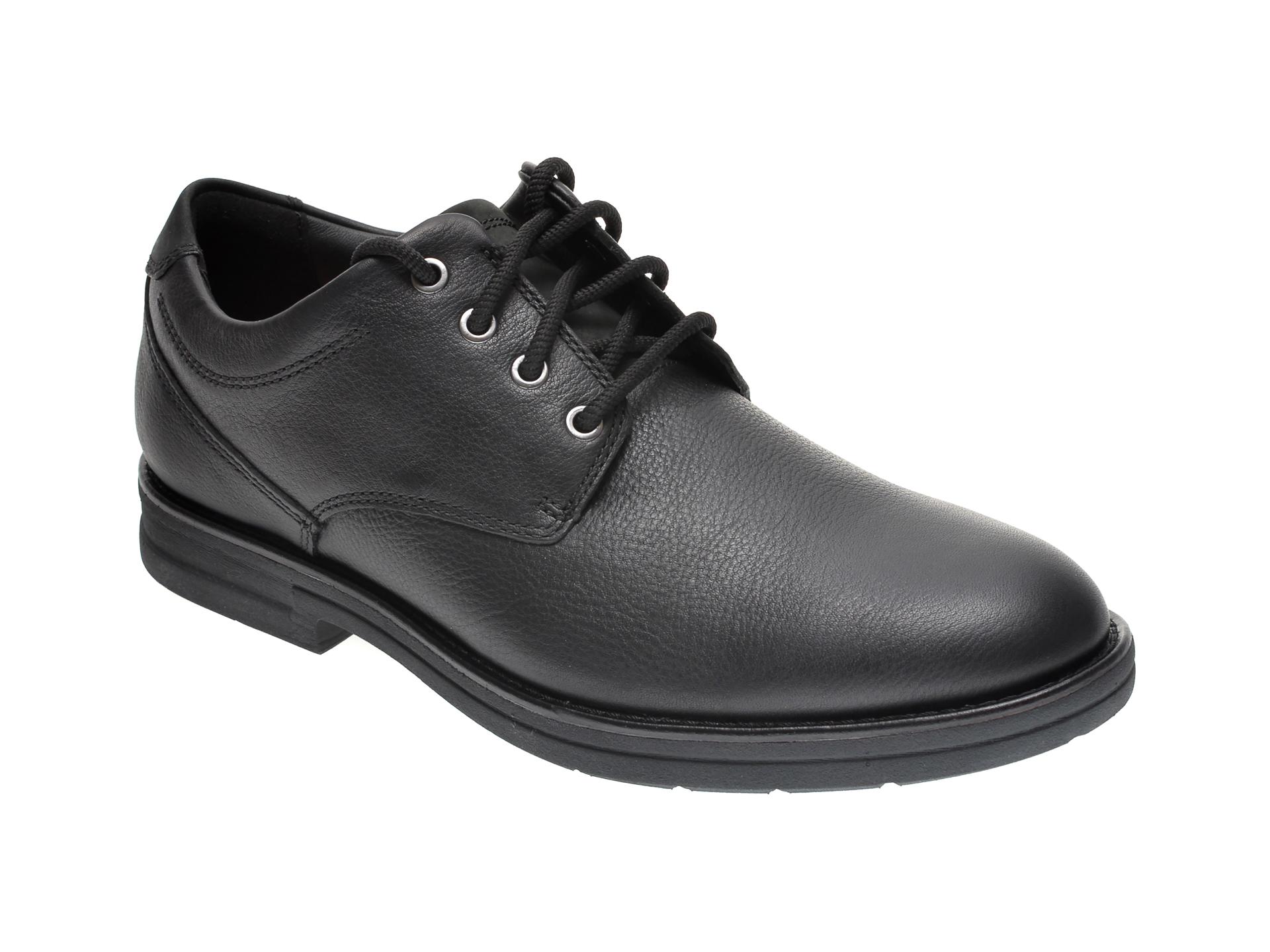 Pantofi CLARKS negri, BANNING PLAIN, din piele naturala imagine otter.ro