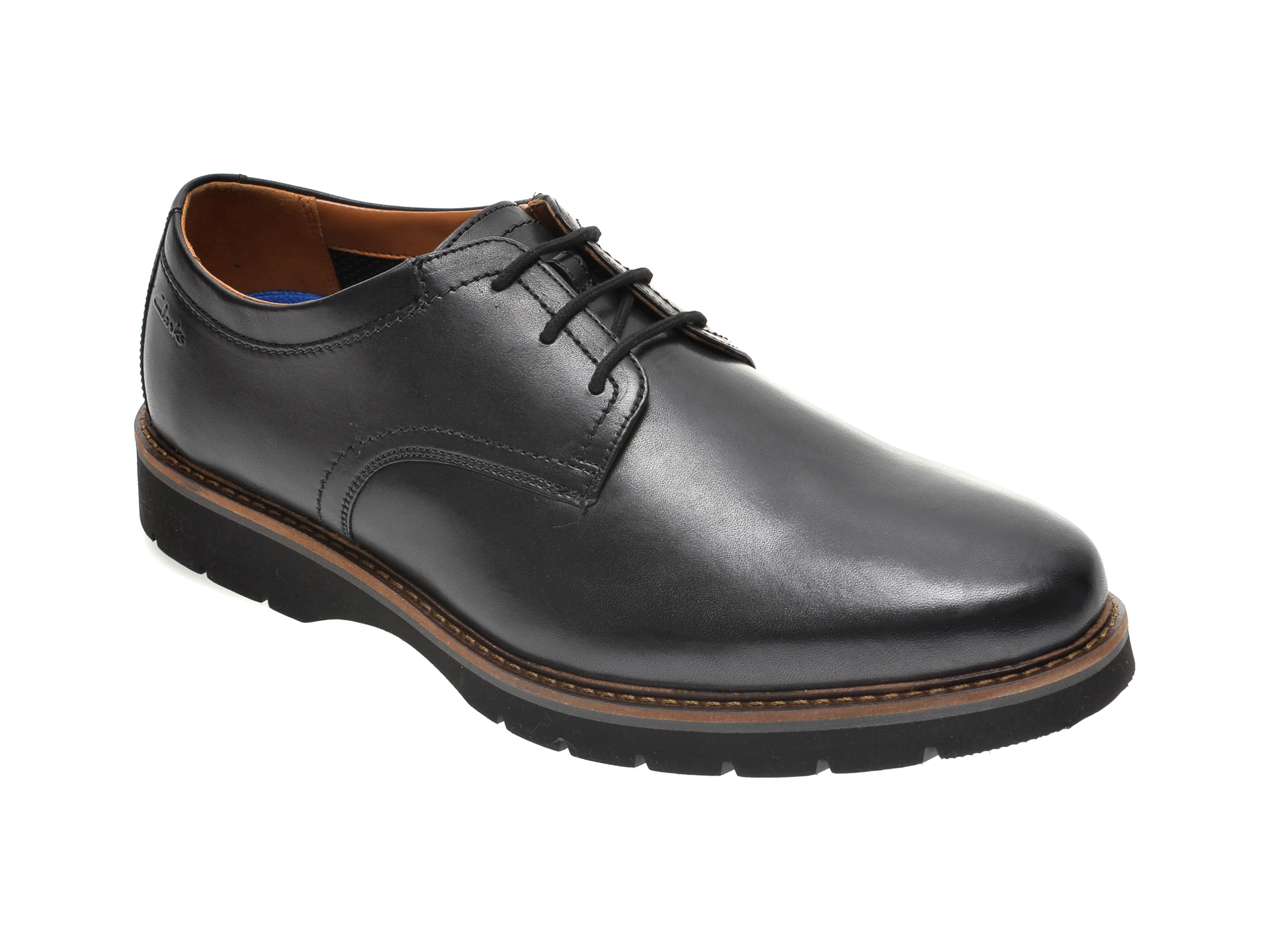 Pantofi CLARKS negri, BAYHILL PLAIN, din piele naturala