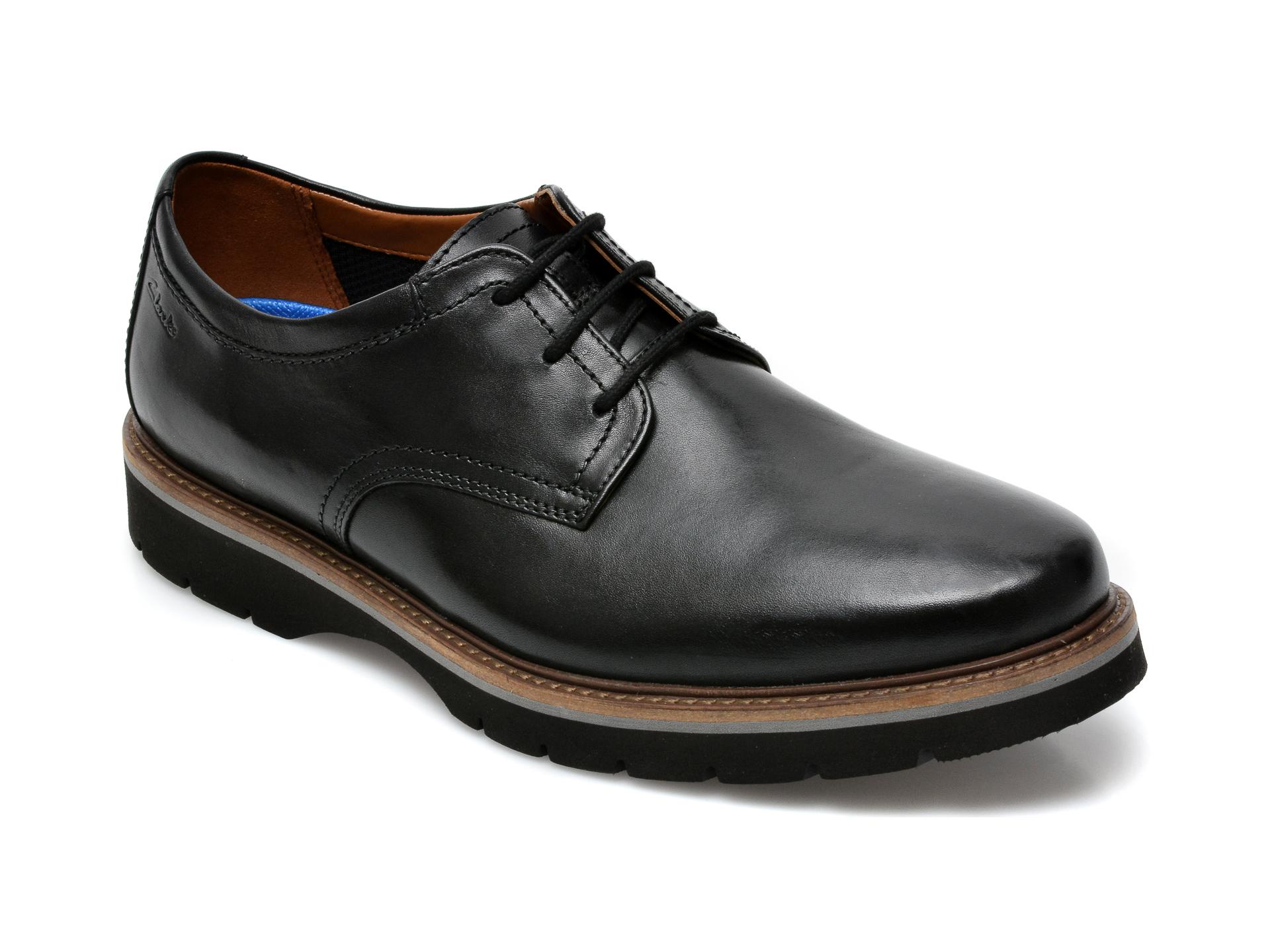Pantofi CLARKS negri, Bayhill Plain, din piele naturala imagine otter.ro 2021
