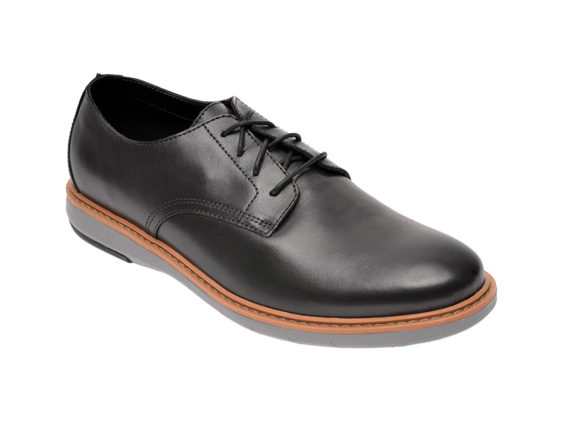 Pantofi CLARKS negri, Draper Lace, din piele naturala imagine
