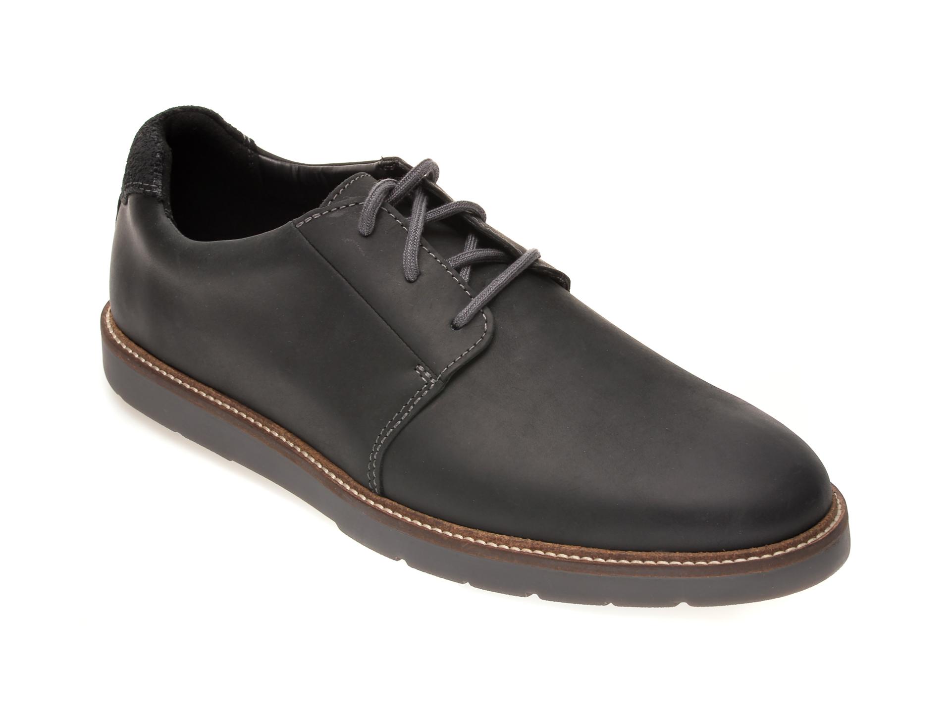Pantofi CLARKS negri, GRANDIN PLAIN, din piele naturala imagine otter.ro