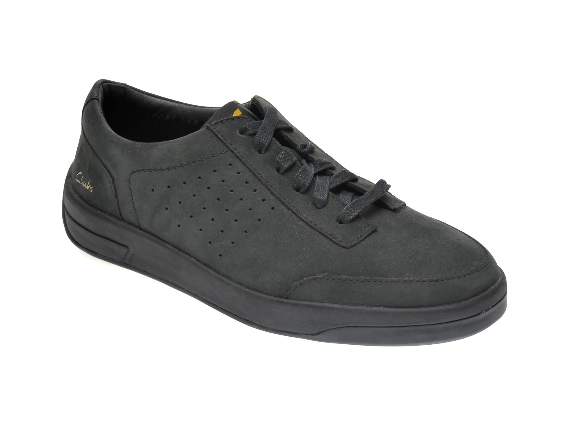 Pantofi CLARKS negri, HERO AIR LACE, din nabuc imagine