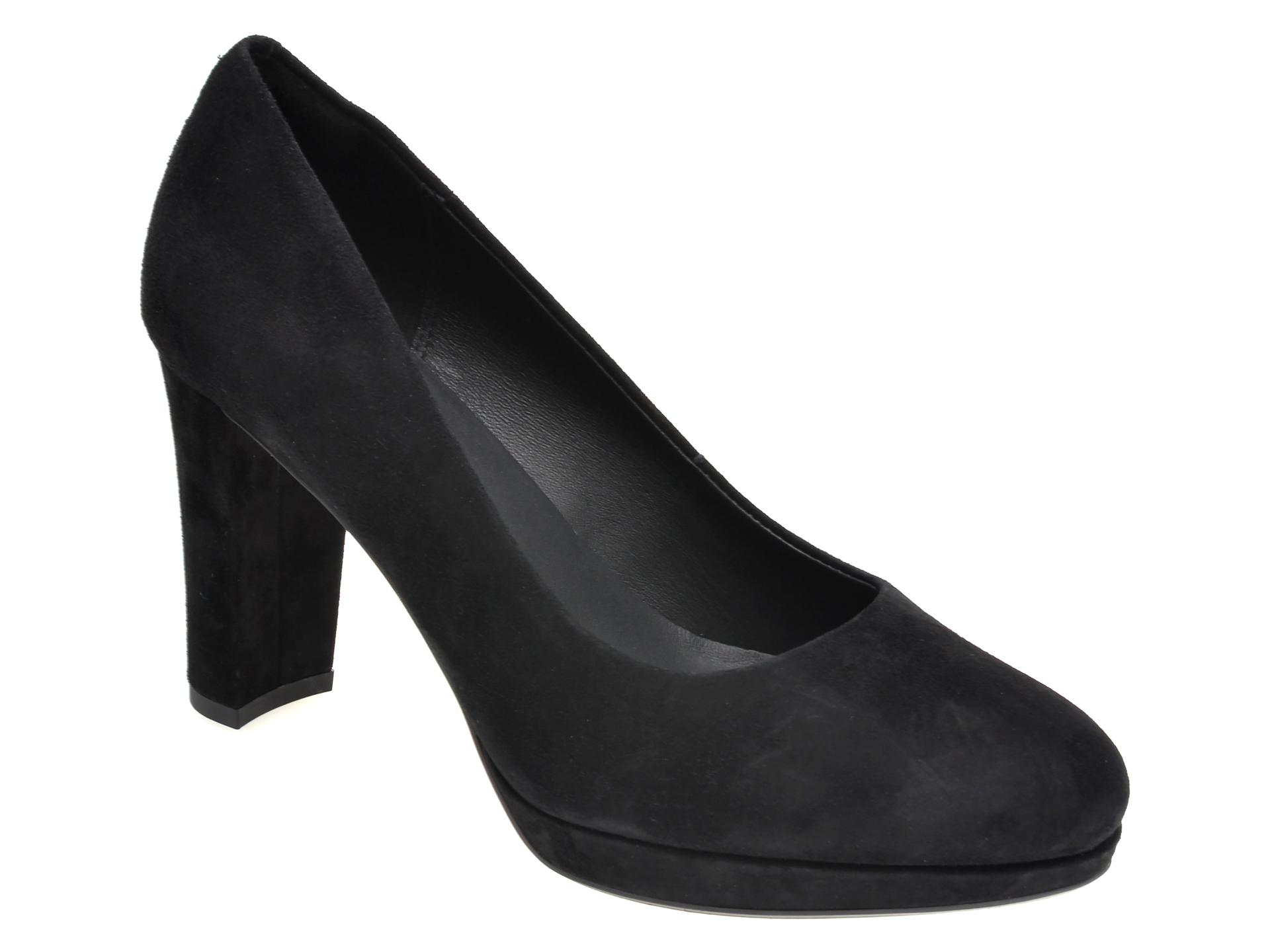 Pantofi CLARKS negri, KENDRA SIENNA, din piele intoarsa imagine