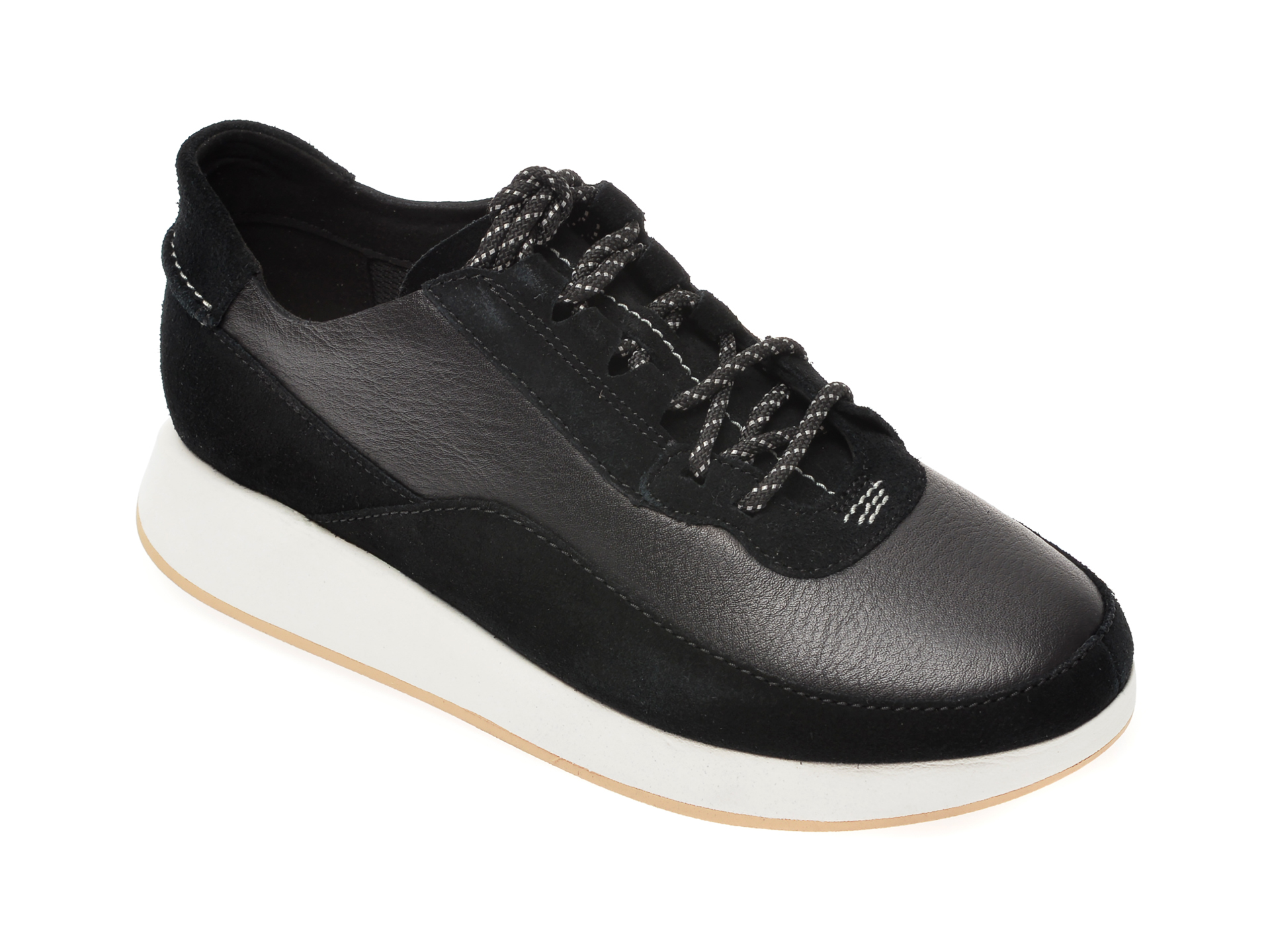 Pantofi CLARKS negri, Kiowa Pace, din piele naturala imagine