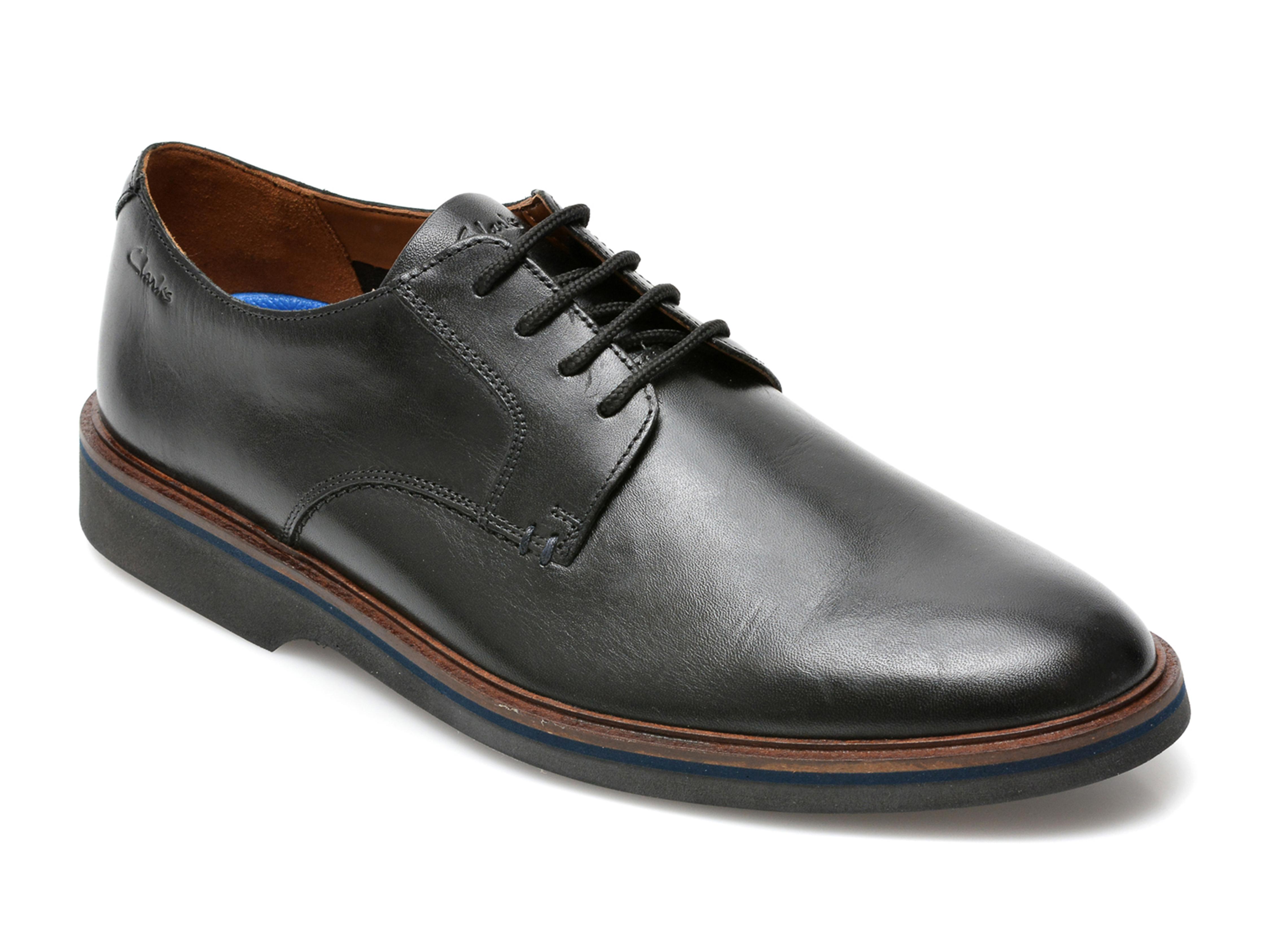 Pantofi CLARKS negri, Malwood Plain, din piele naturala imagine otter.ro 2021