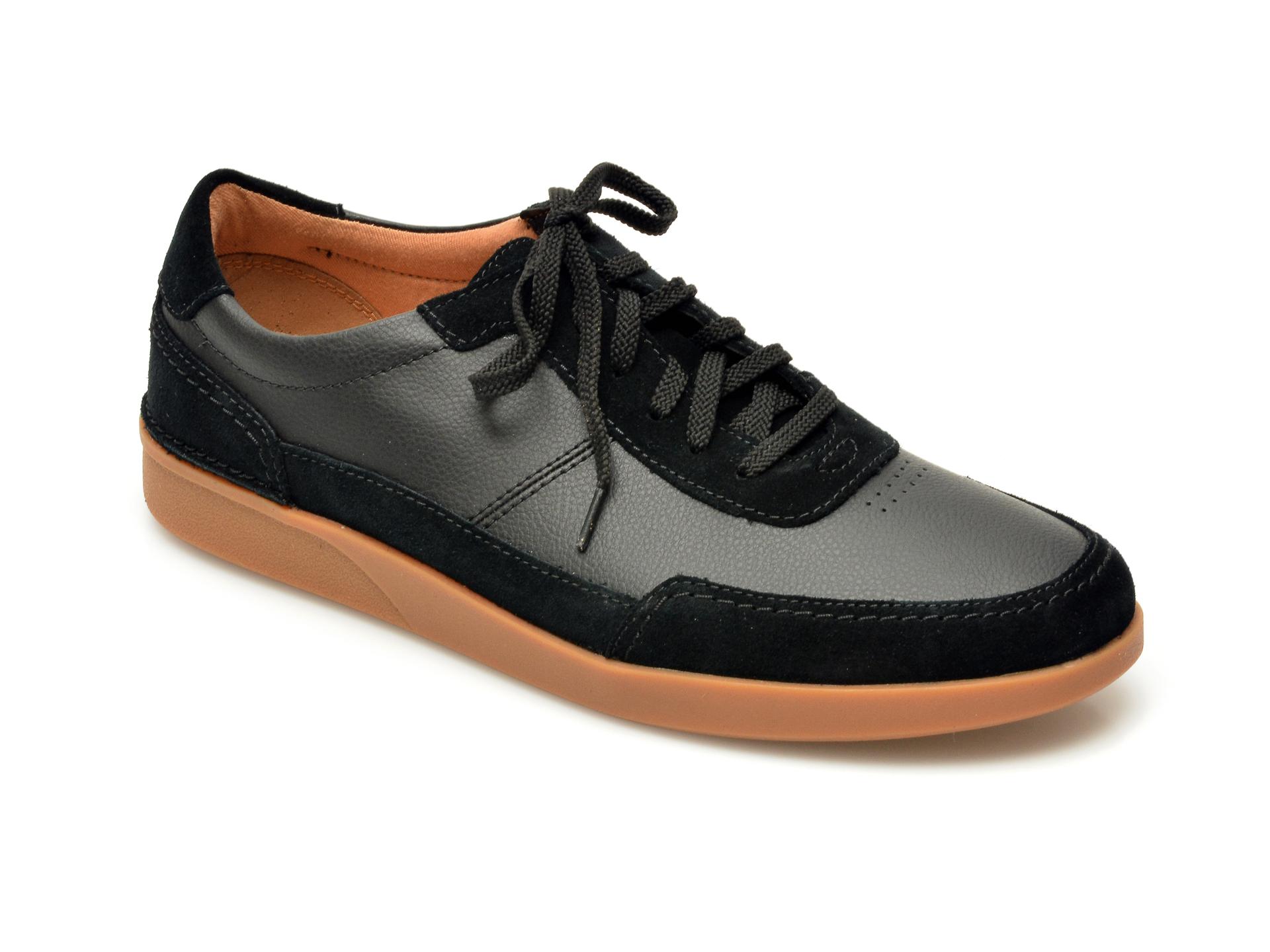 Pantofi CLARKS negri, Oakland Run, din piele naturala imagine otter.ro