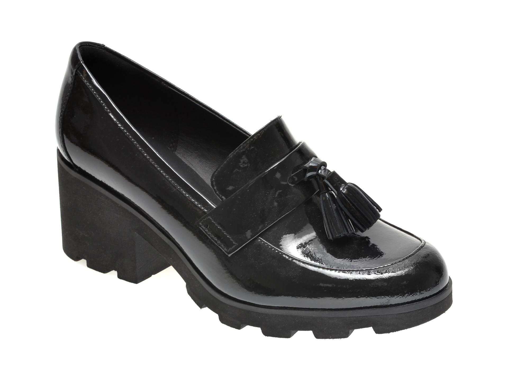 Pantofi CLARKS negri, RENE LOAFER, din piele naturala lacuita imagine