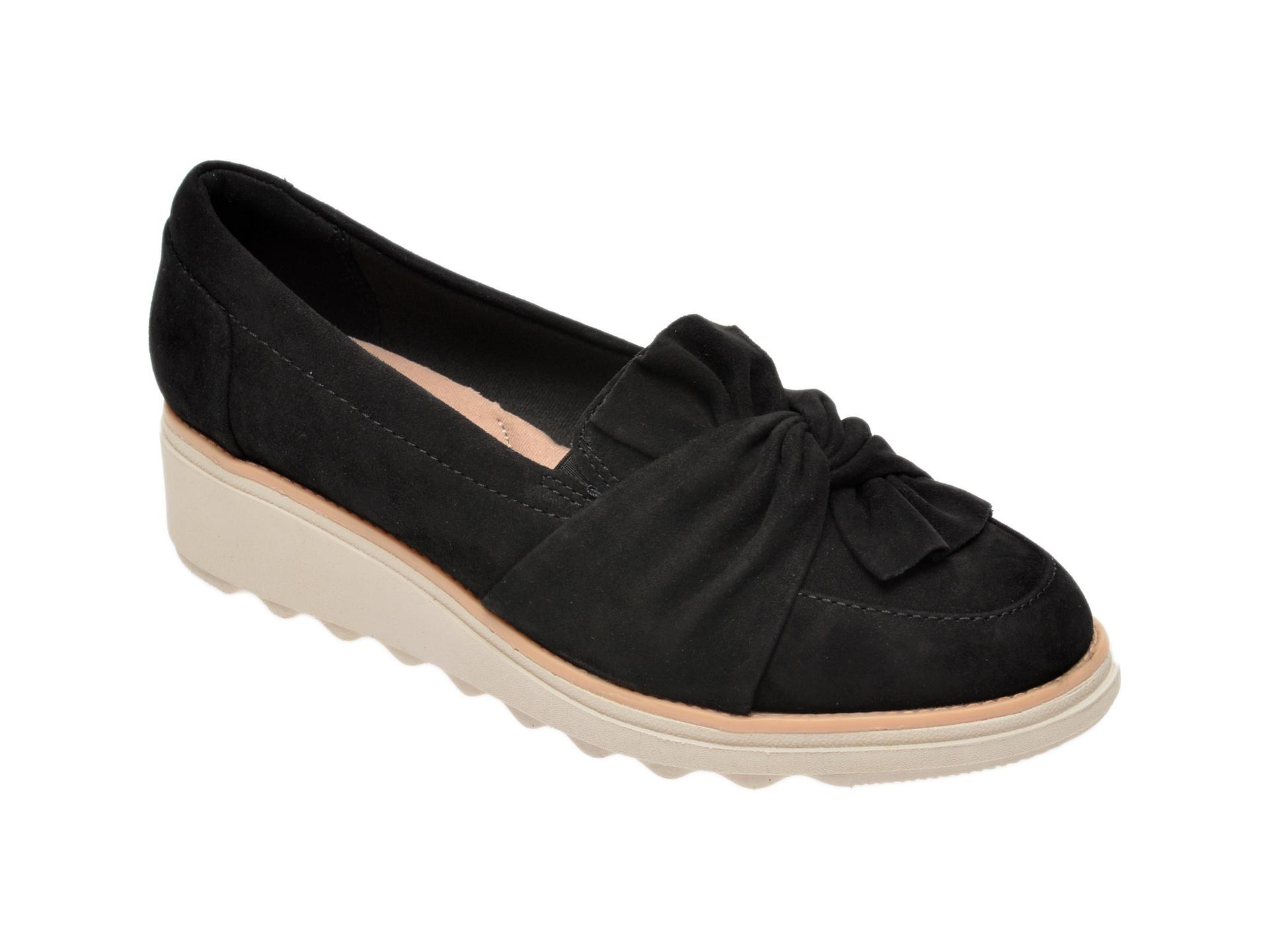 Pantofi CLARKS negri, Sharon Dasher, din piele intoarsa imagine