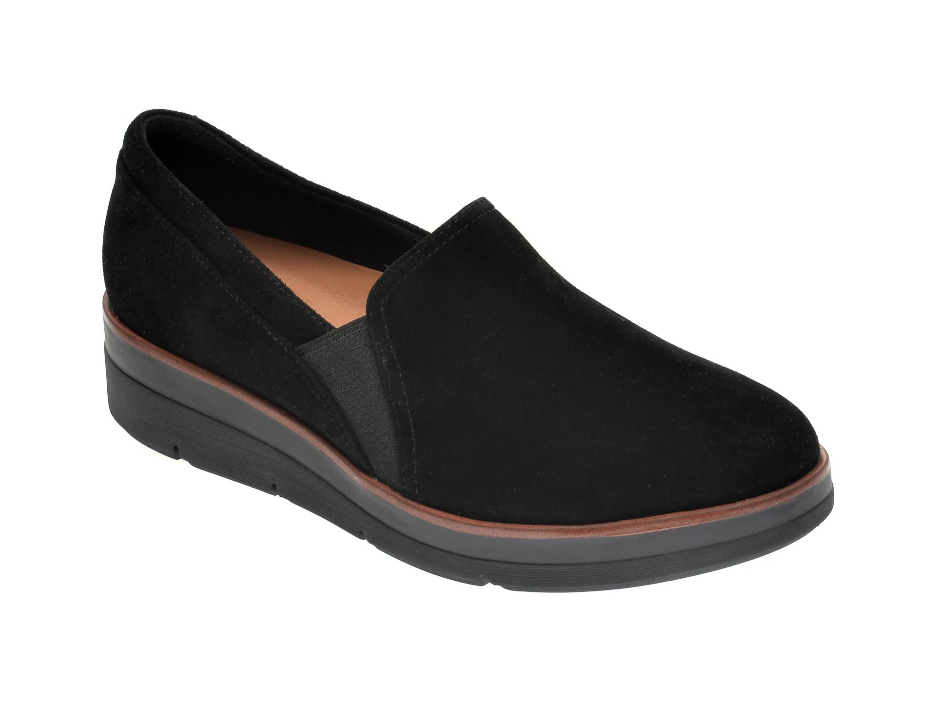 Pantofi CLARKS negri, SHAYLIN AVE, din piele intoarsa imagine