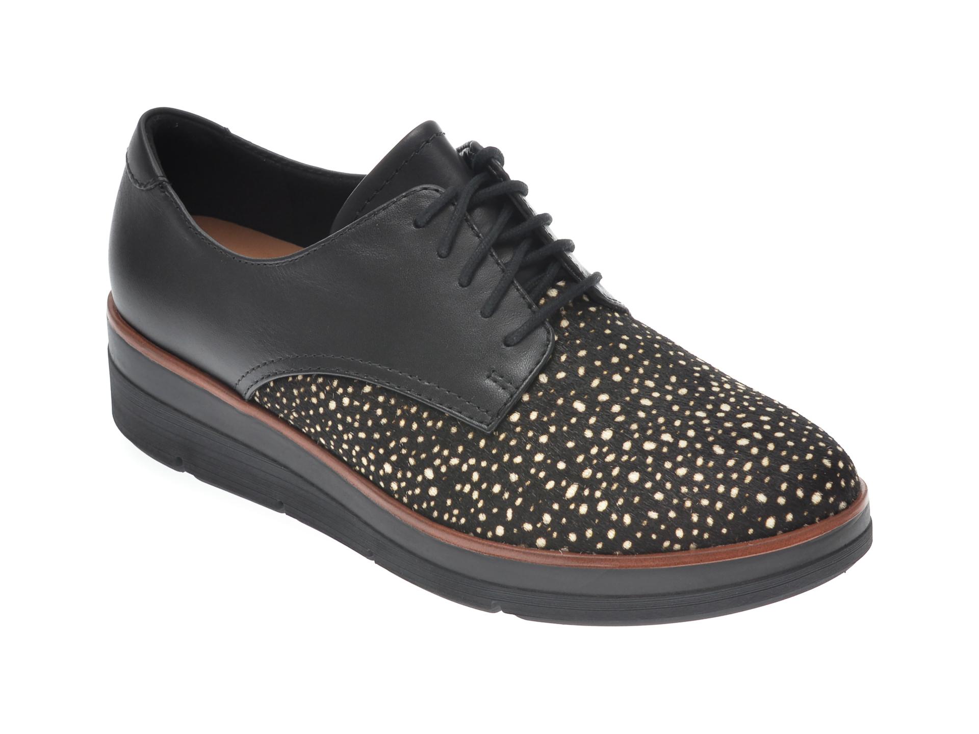 Pantofi CLARKS negri, SHAYLIN LACE, din piele naturala imagine