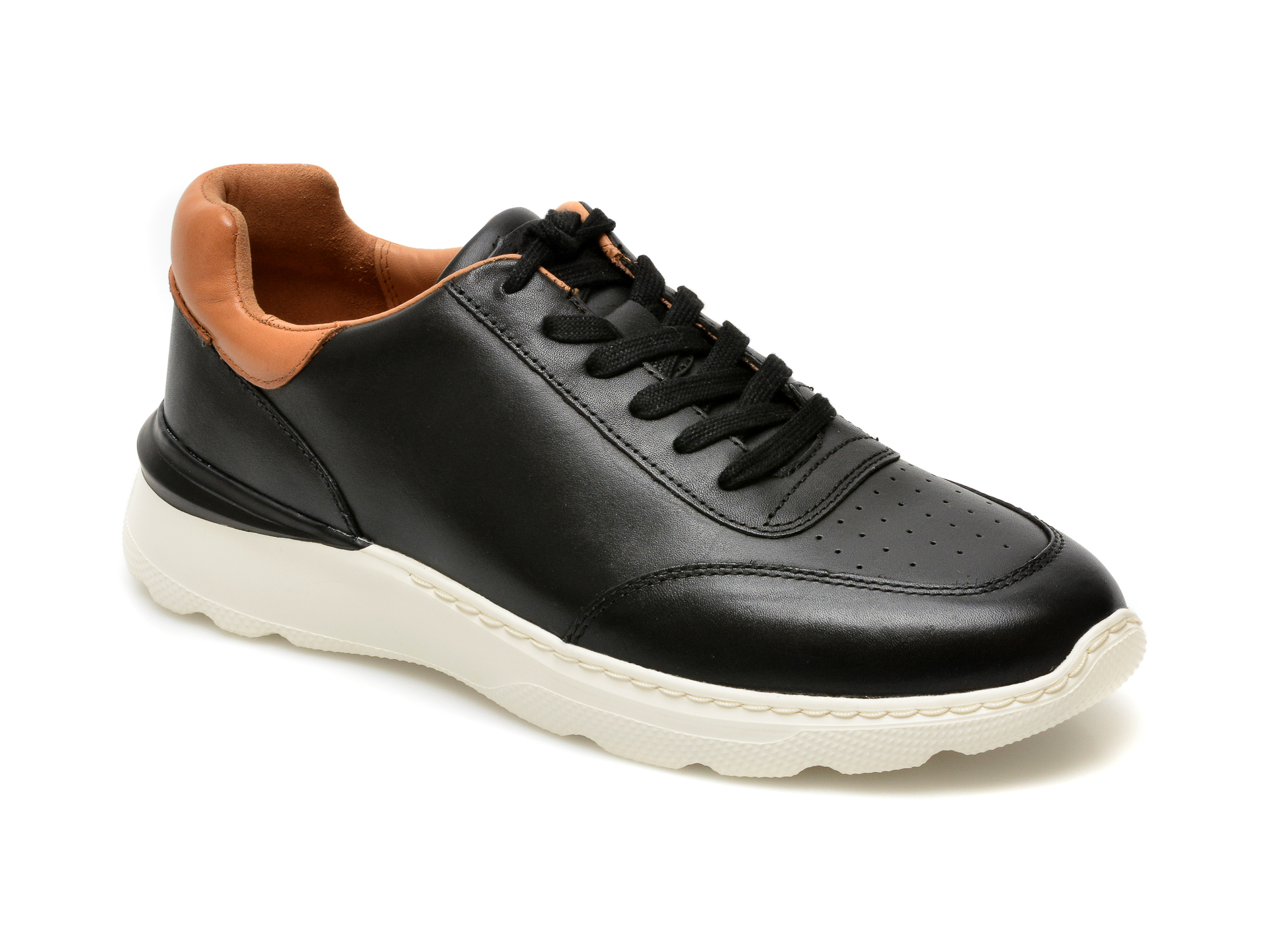 Pantofi CLARKS negri, Sprintlitelace, din piele naturala imagine