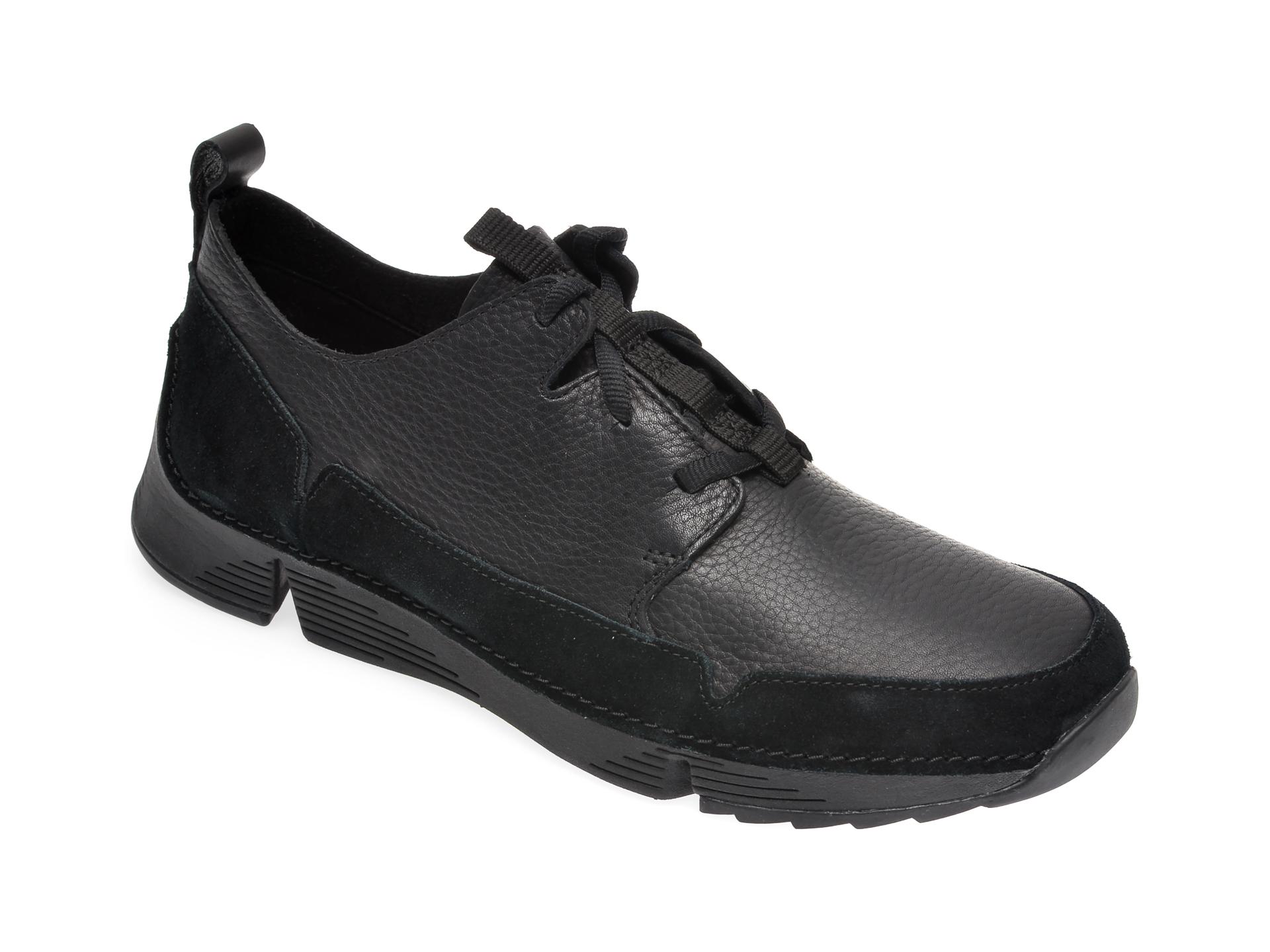 Pantofi CLARKS negri, Tri Solar, din piele naturala imagine