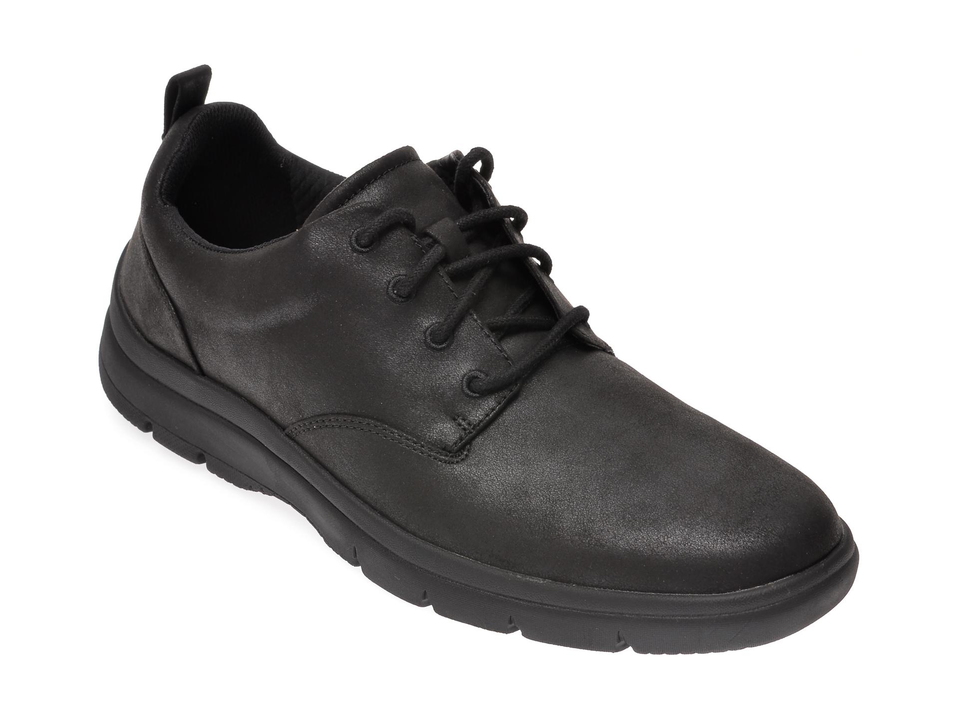 Pantofi CLARKS negri, Tunsil Lane, din piele ecologica