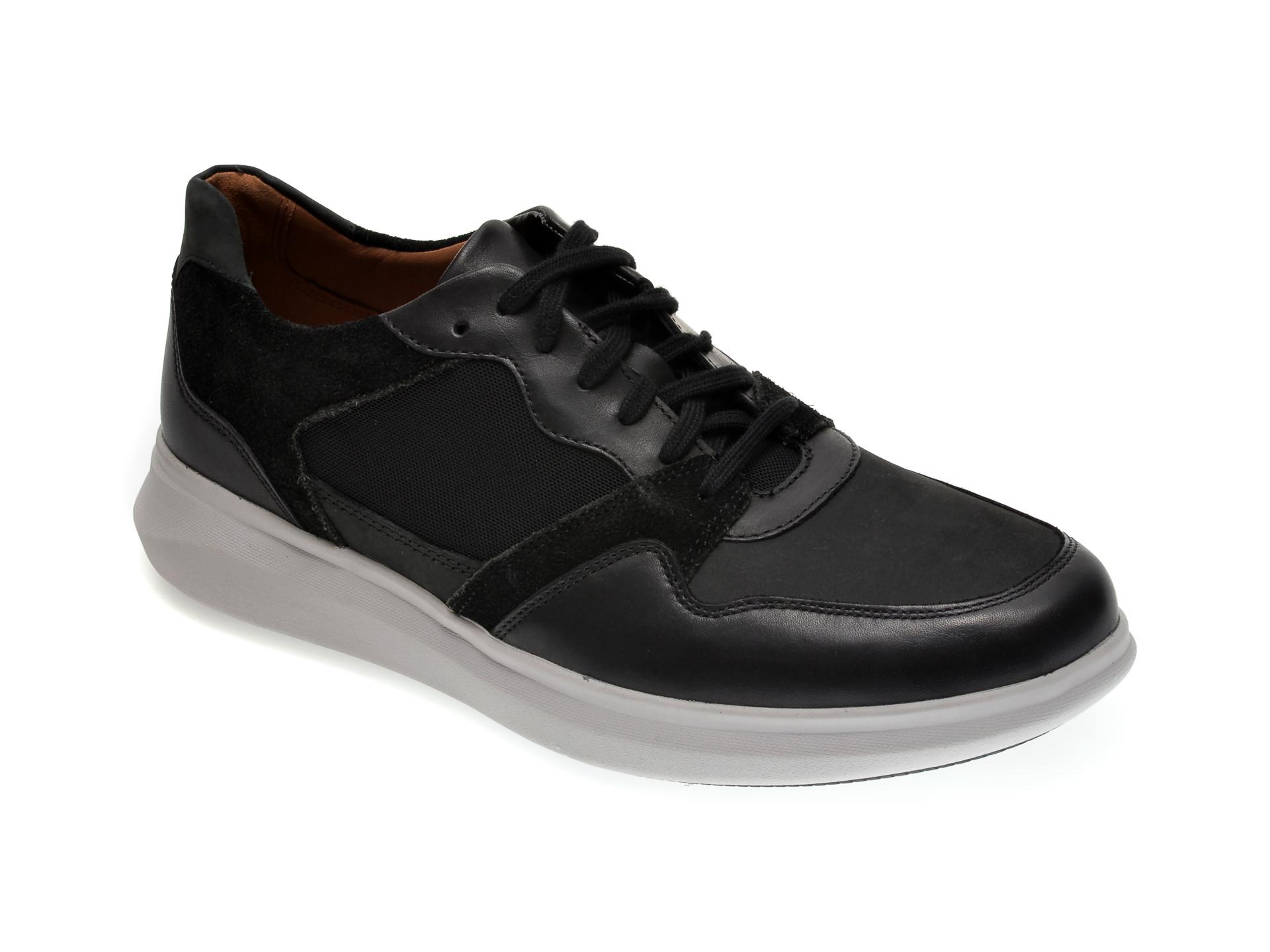 Pantofi CLARKS negri, UN GLOBE RUN, din piele ecologica imagine