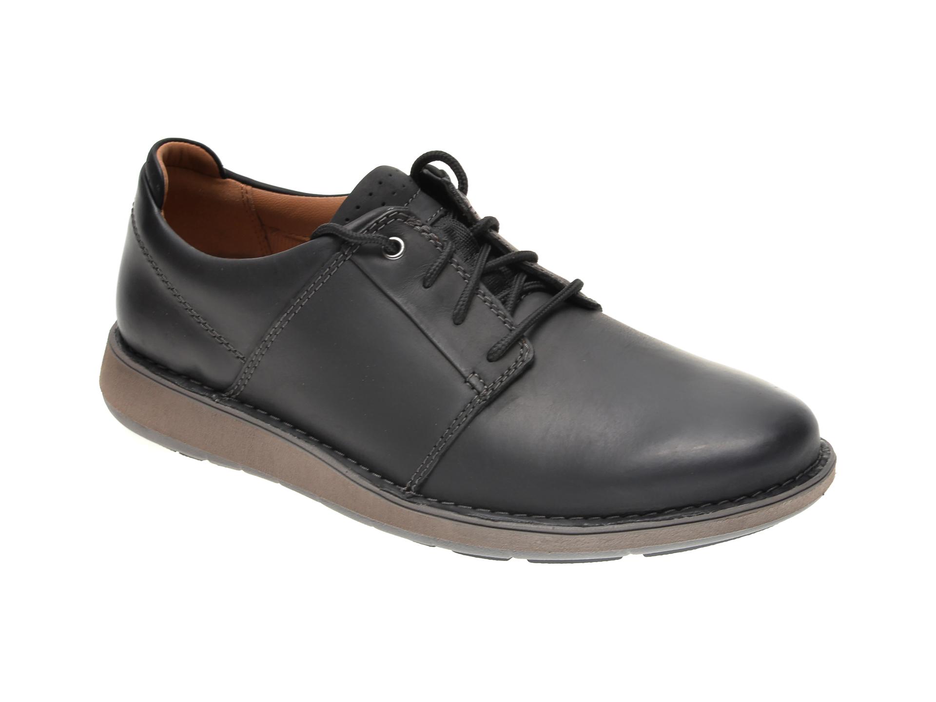 Pantofi CLARKS negri, UN LARVIK LACE, din piele naturala imagine otter.ro