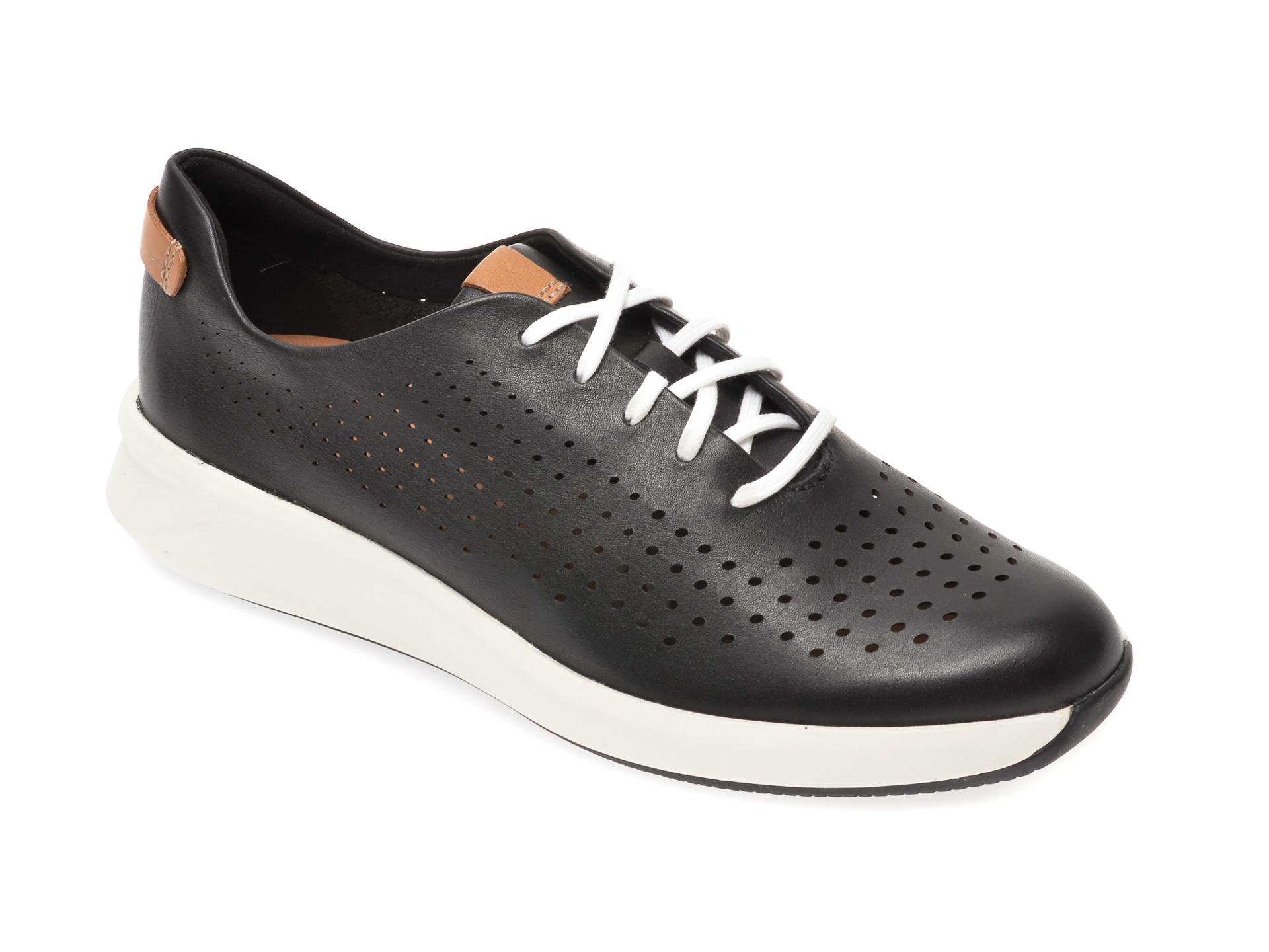 Pantofi CLARKS negri, Un Rio Tie, din piele naturala imagine