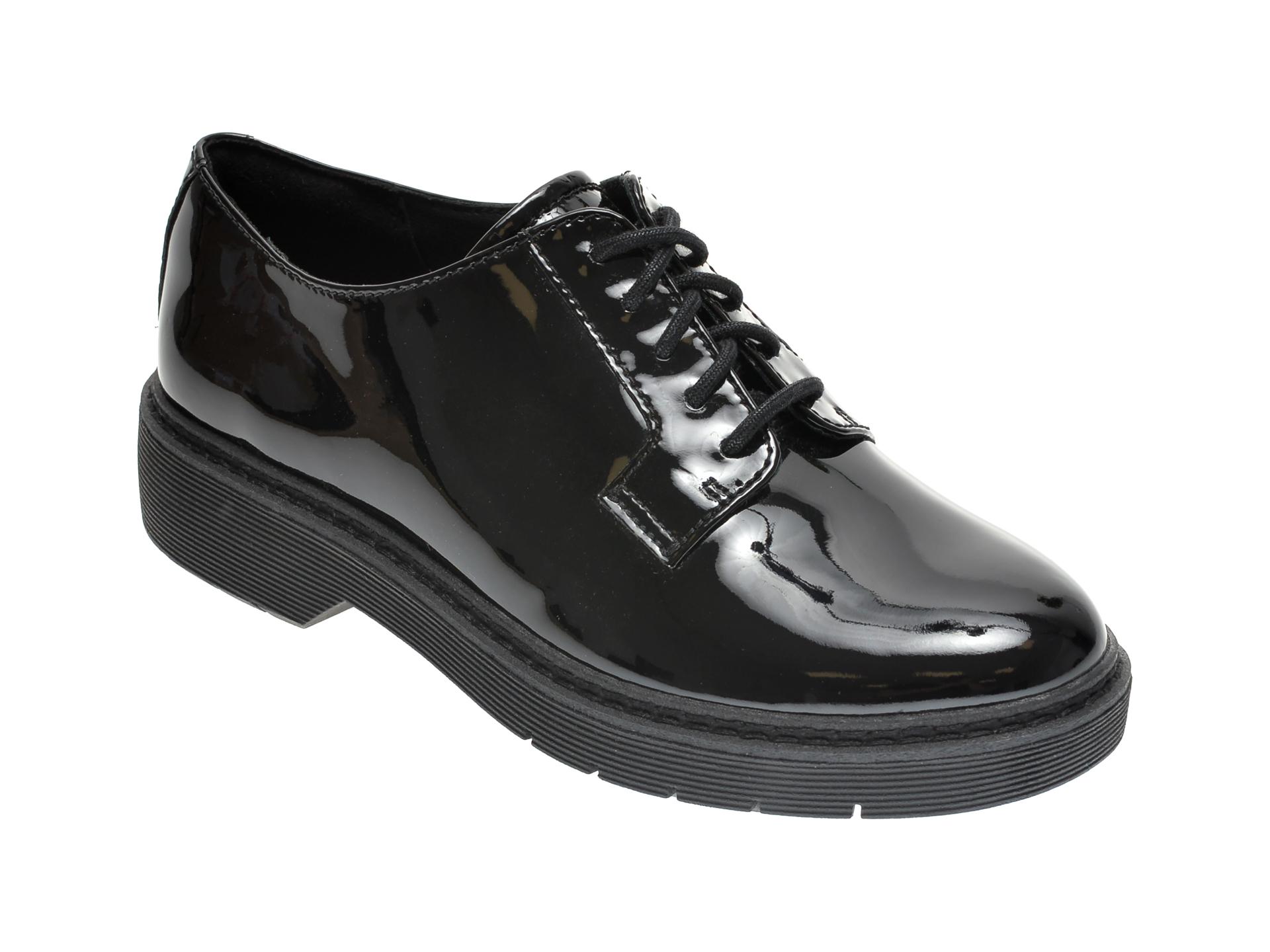 Pantofi CLARKS negri, WITCOMBE LACE, din piele naturala lacuita imagine