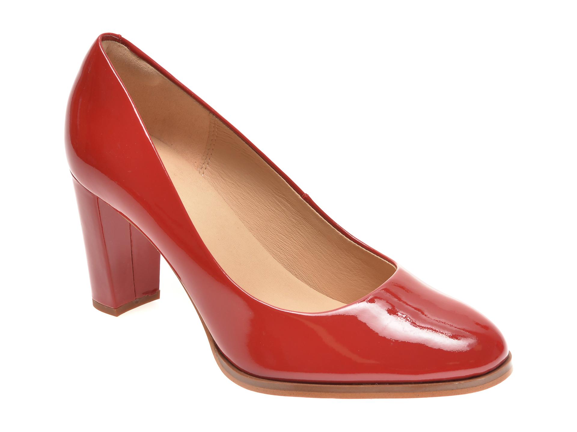 Pantofi CLARKS rosii, KAYLIN CARA, din piele naturala lacuita imagine
