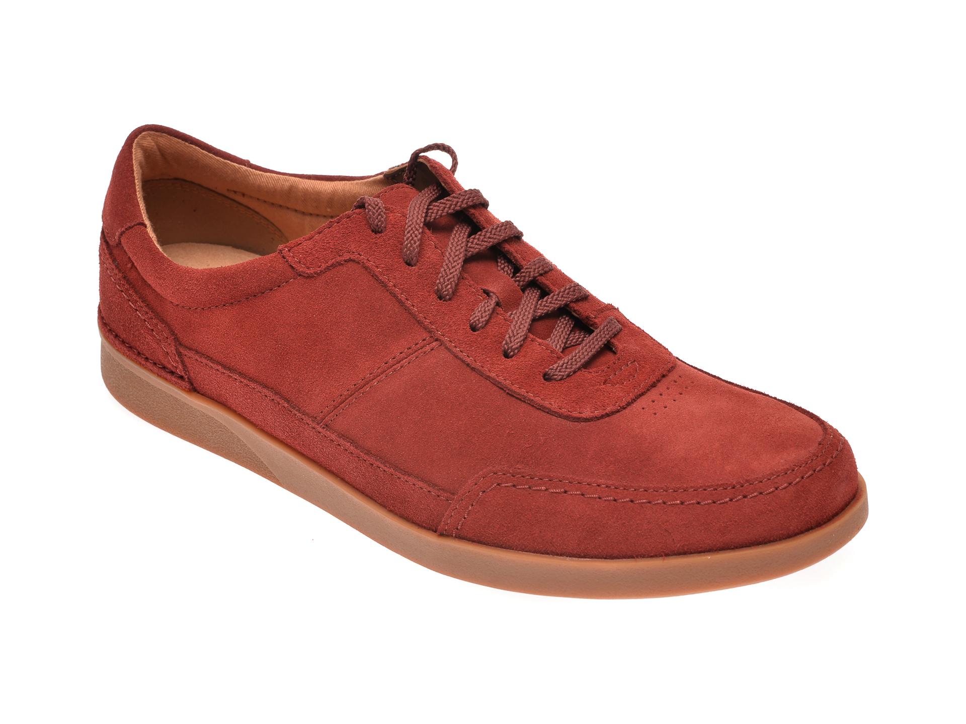 Pantofi CLARKS rosii, Oakland Run, din piele intoarsa