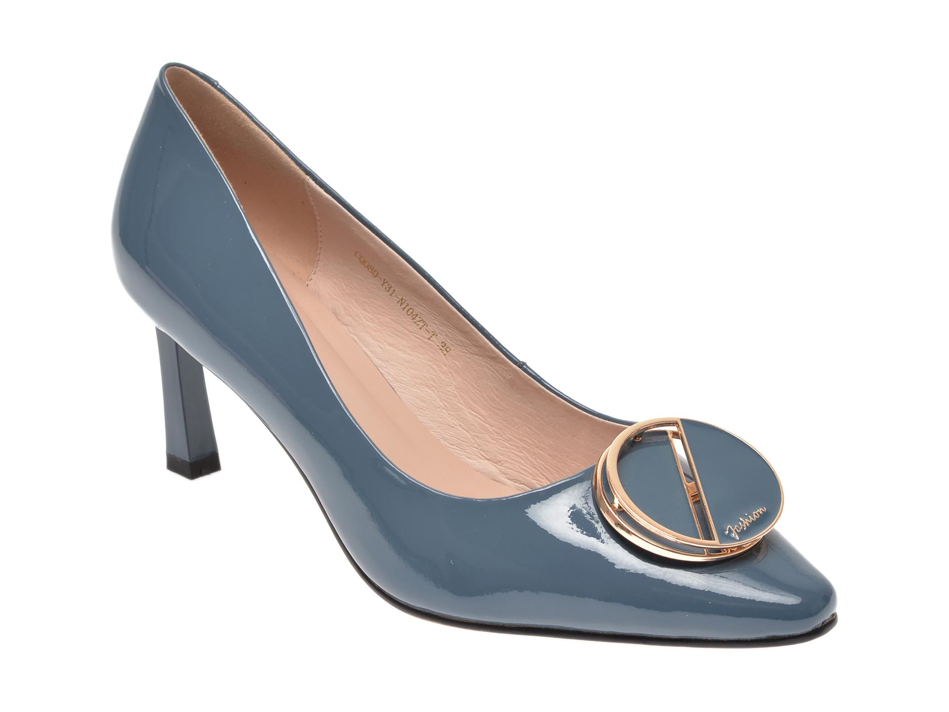 Pantofi EPICA albastri, CQ080Y3, din piele naturala lacuita