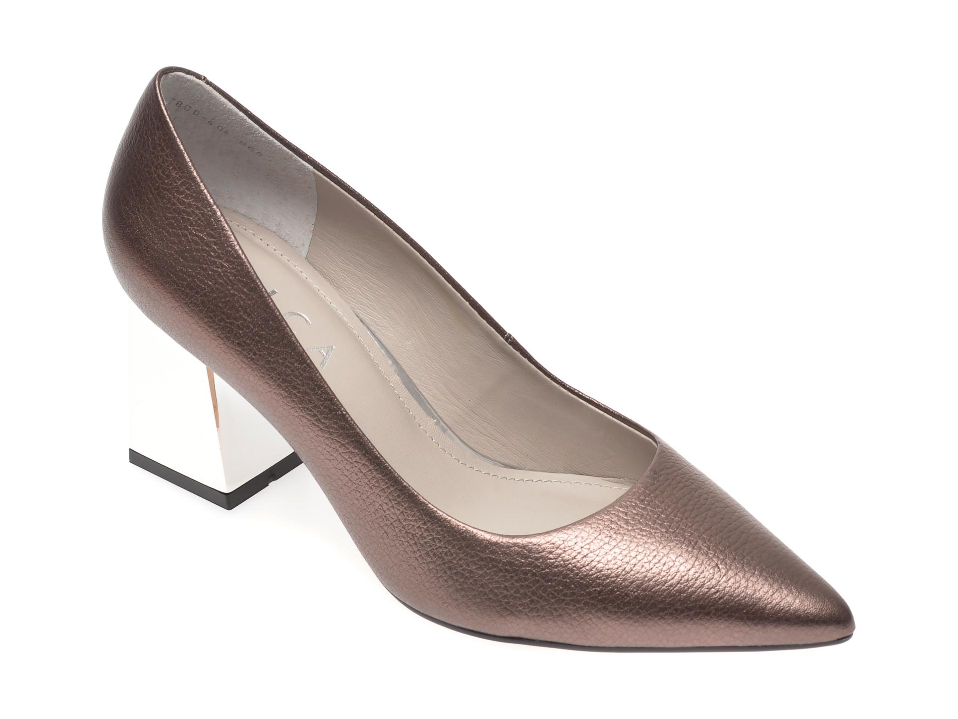 Pantofi EPICA aurii, 7800404, din piele naturala