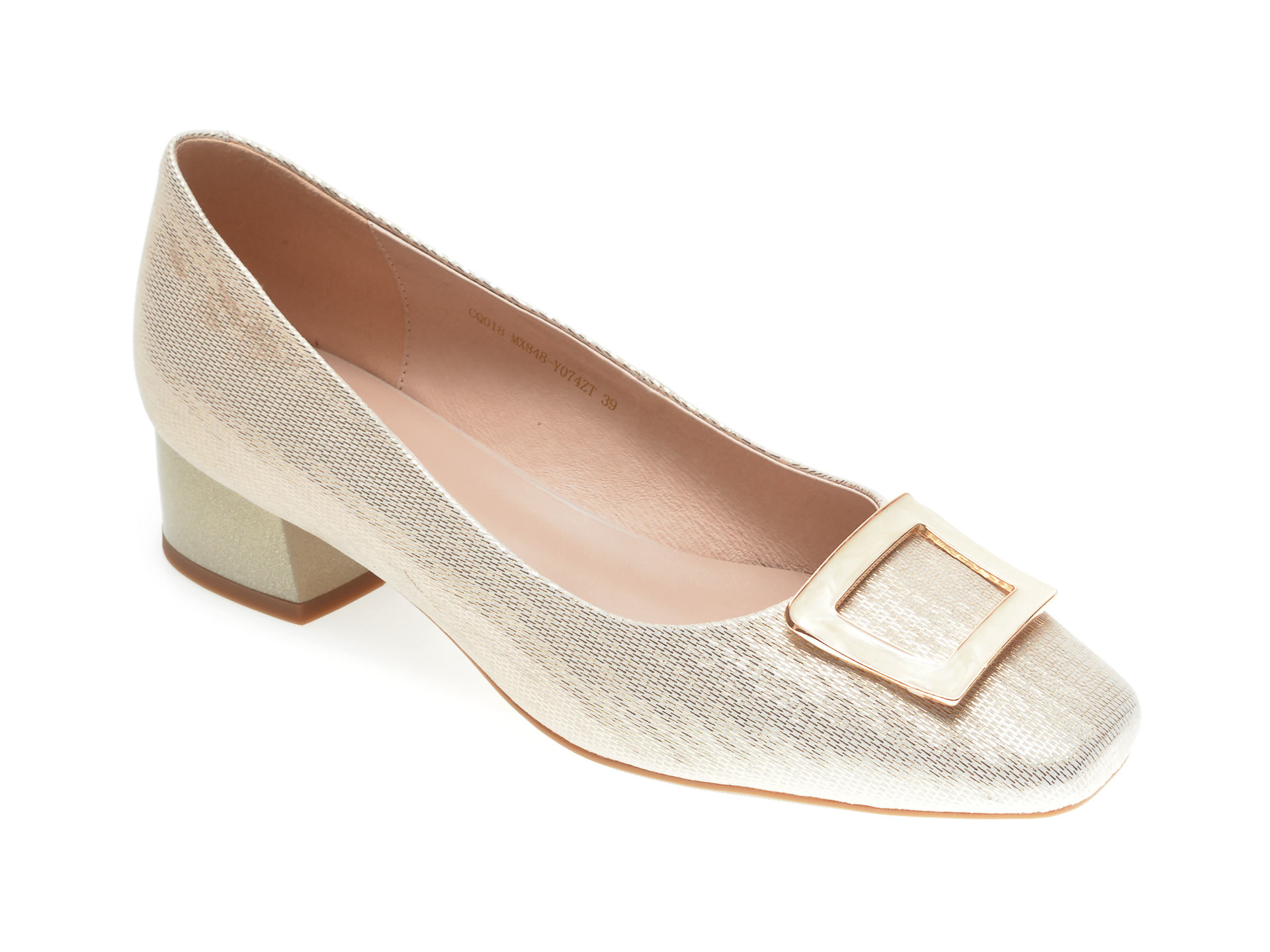 Pantofi EPICA aurii, MX848, din piele naturala