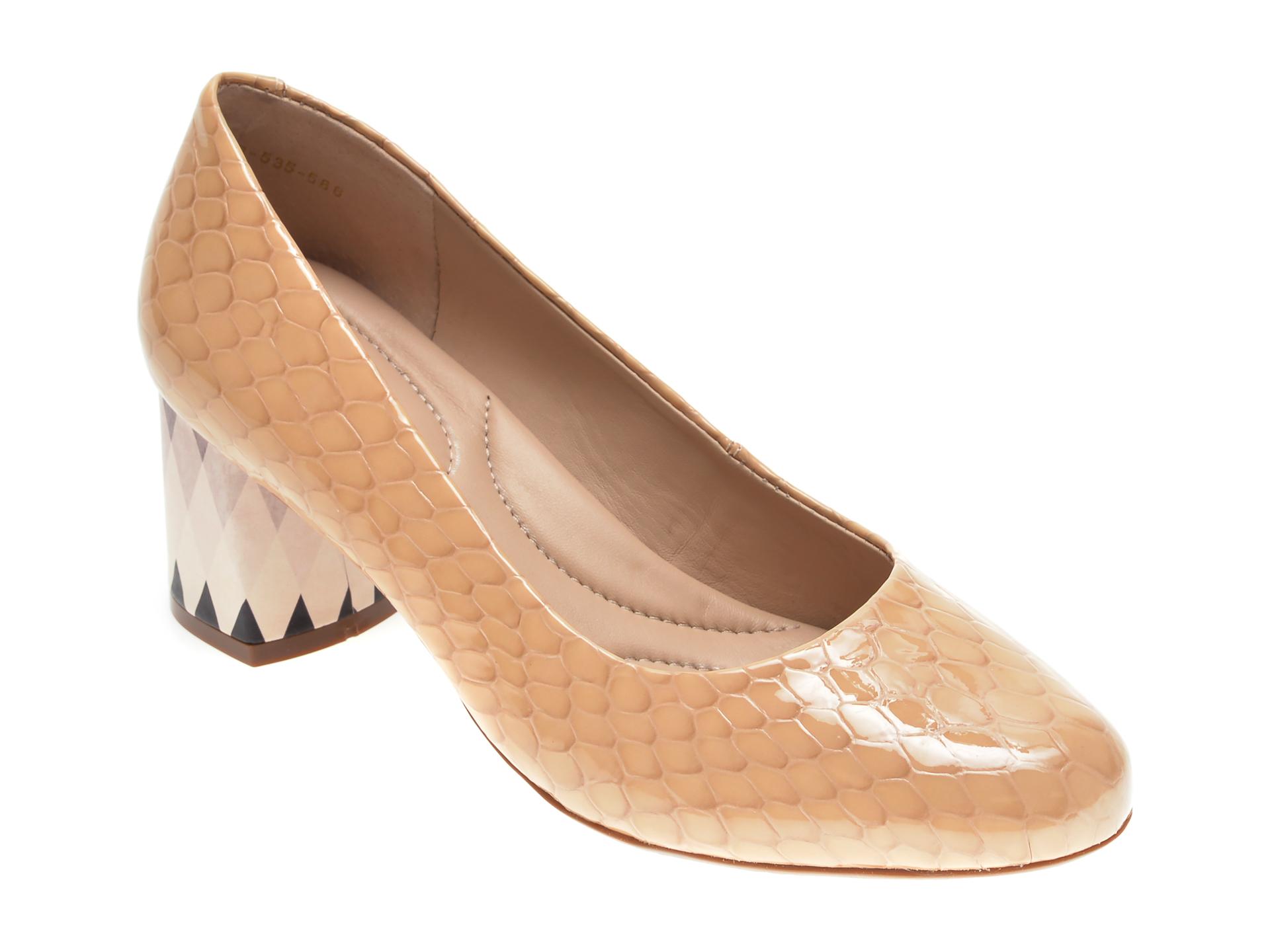 Pantofi EPICA bej, 9695358, din piele croco imagine