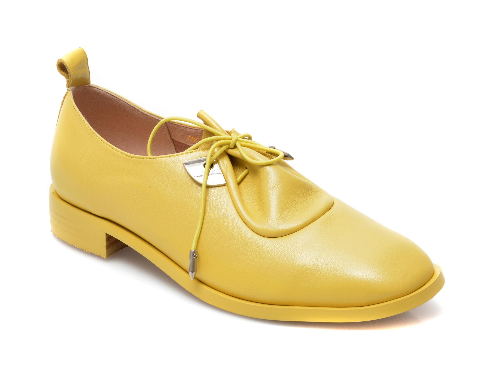 Pantofi EPICA galbeni, Y2561Q1, din piele naturala