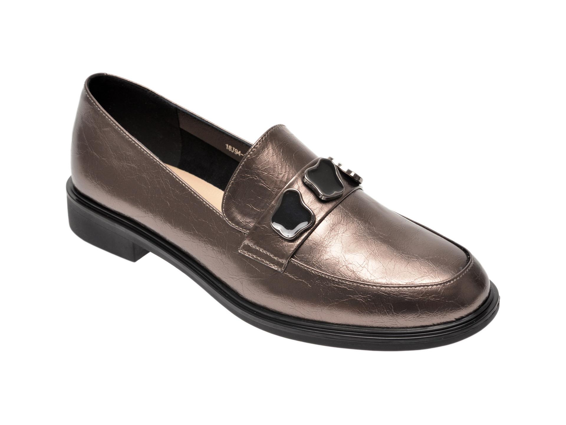Pantofi EPICA gri, 18J9433, din piele naturala imagine