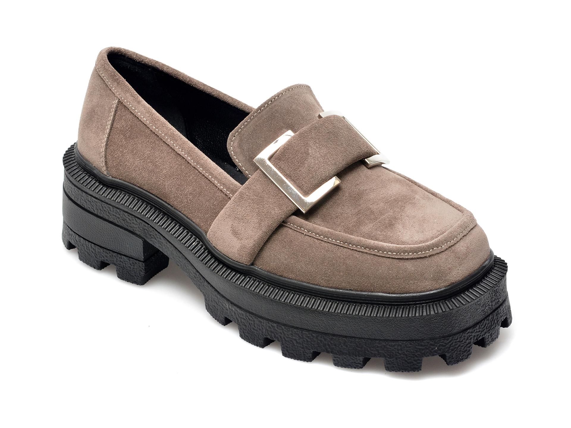 Pantofi EPICA gri, 21748, din piele intoarsa imagine otter.ro 2021