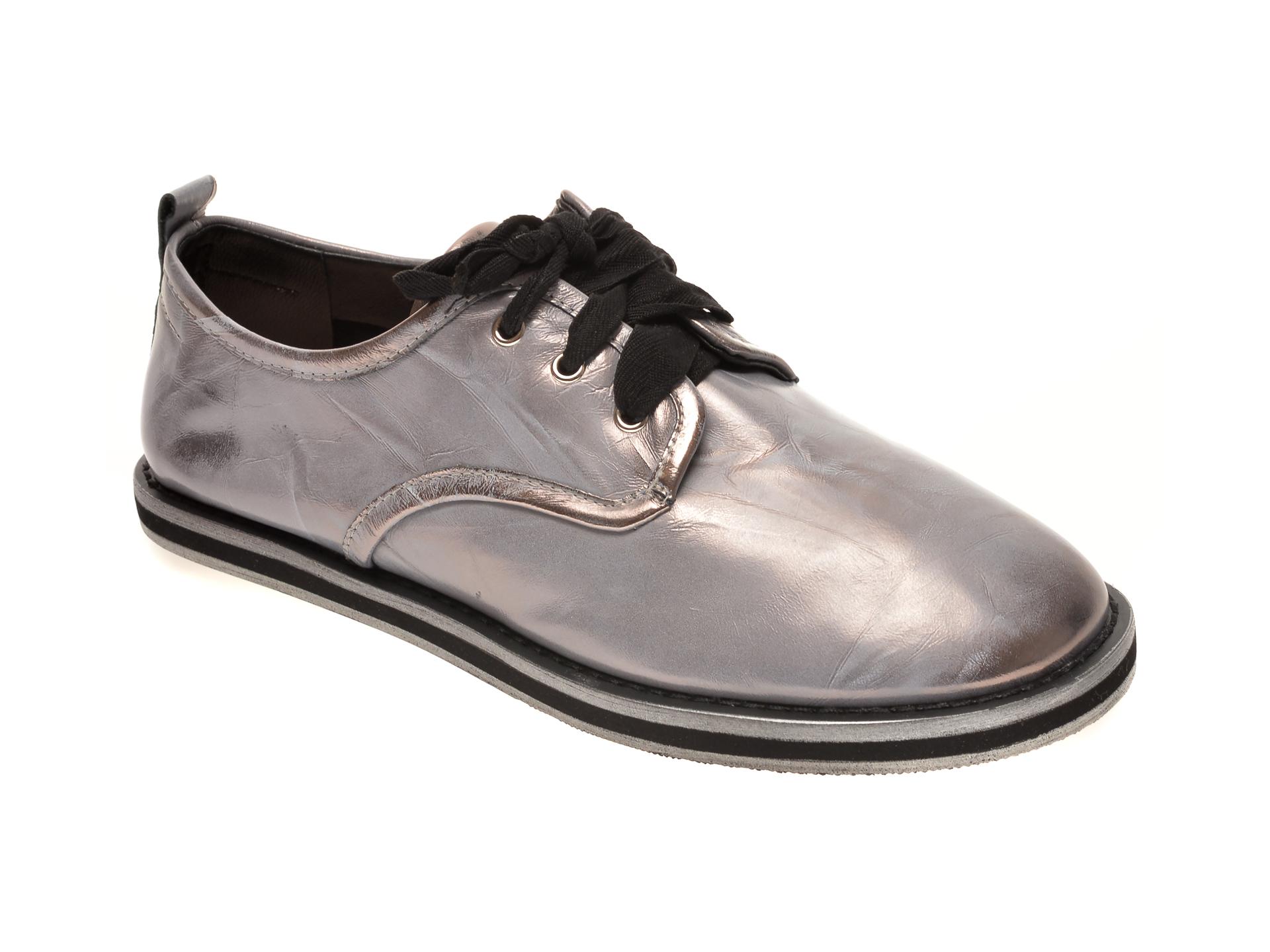 Pantofi EPICA gri, AH025M1, din piele naturala imagine