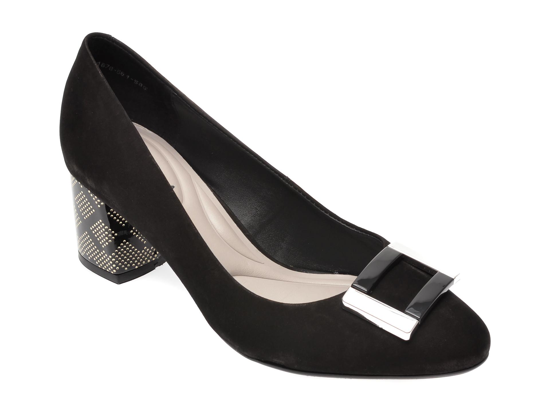 Pantofi EPICA negri, 1678561, din nabuc imagine