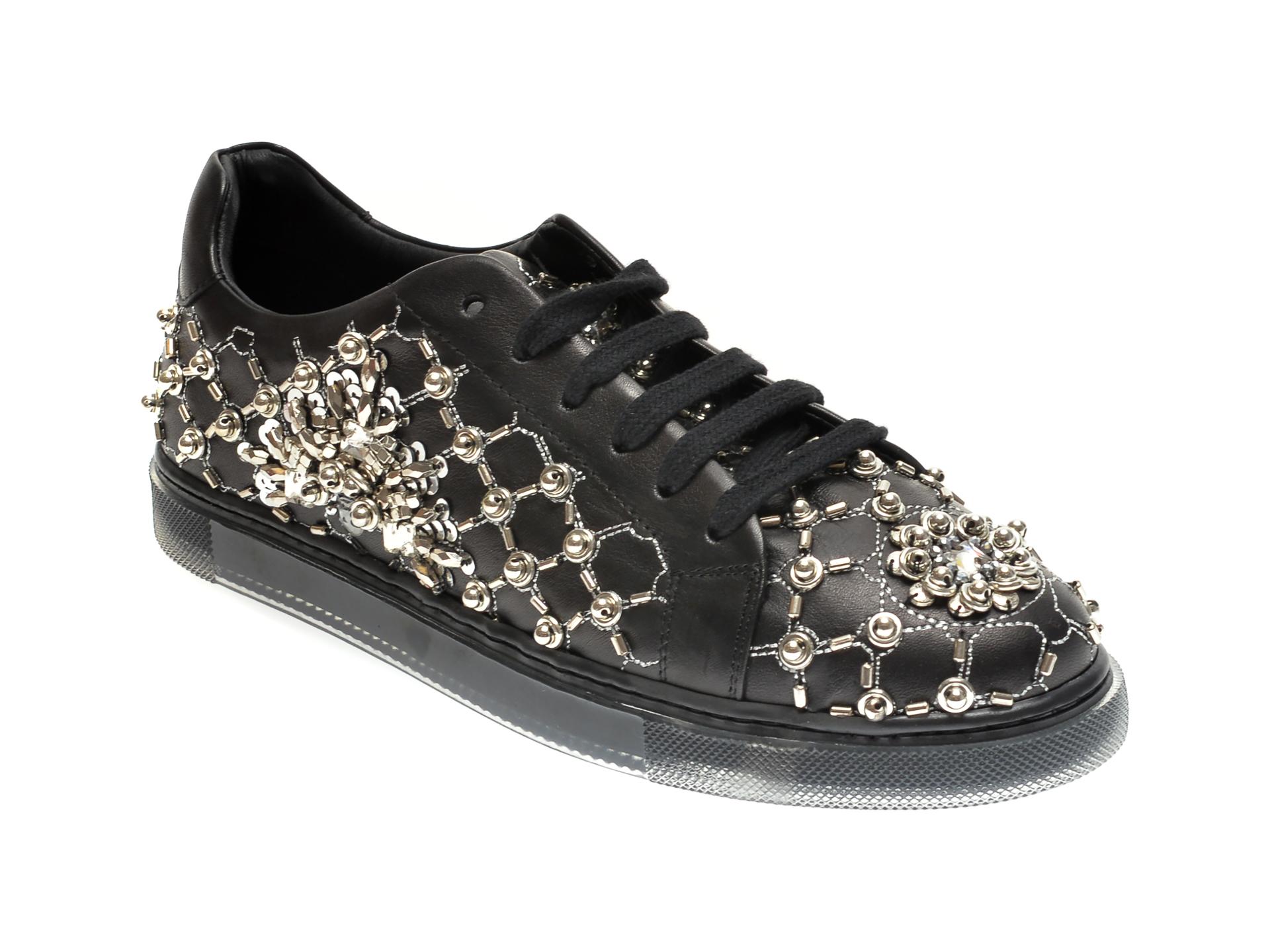 Pantofi EPICA negri, 202146A, din piele naturala imagine