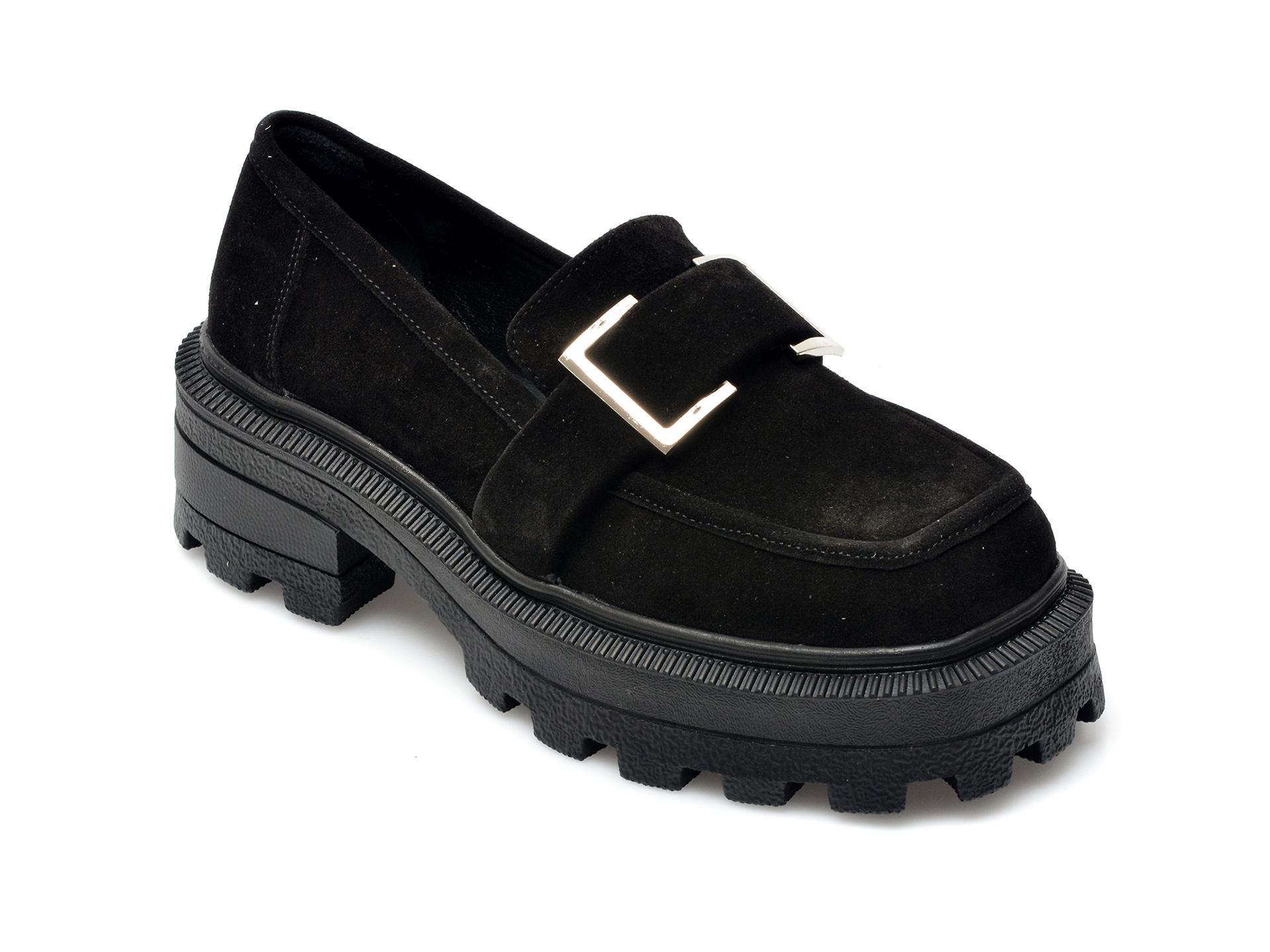 Pantofi EPICA negri, 21748, din piele intoarsa imagine otter.ro 2021