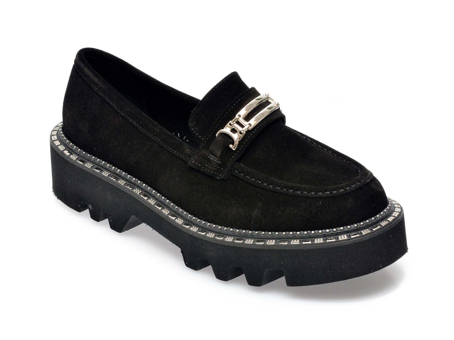 Pantofi EPICA negri, 21996, din piele intoarsa imagine otter.ro 2021