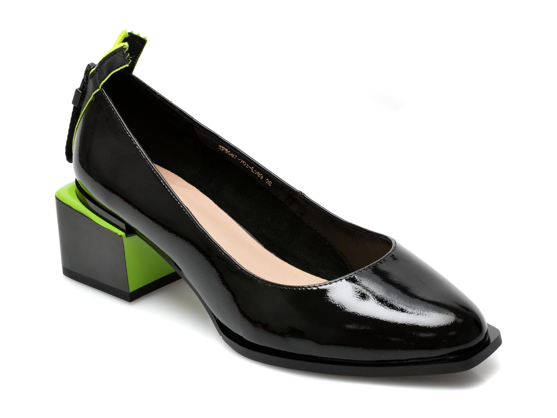 Pantofi EPICA negri, 2F50877, din piele naturala lacuita