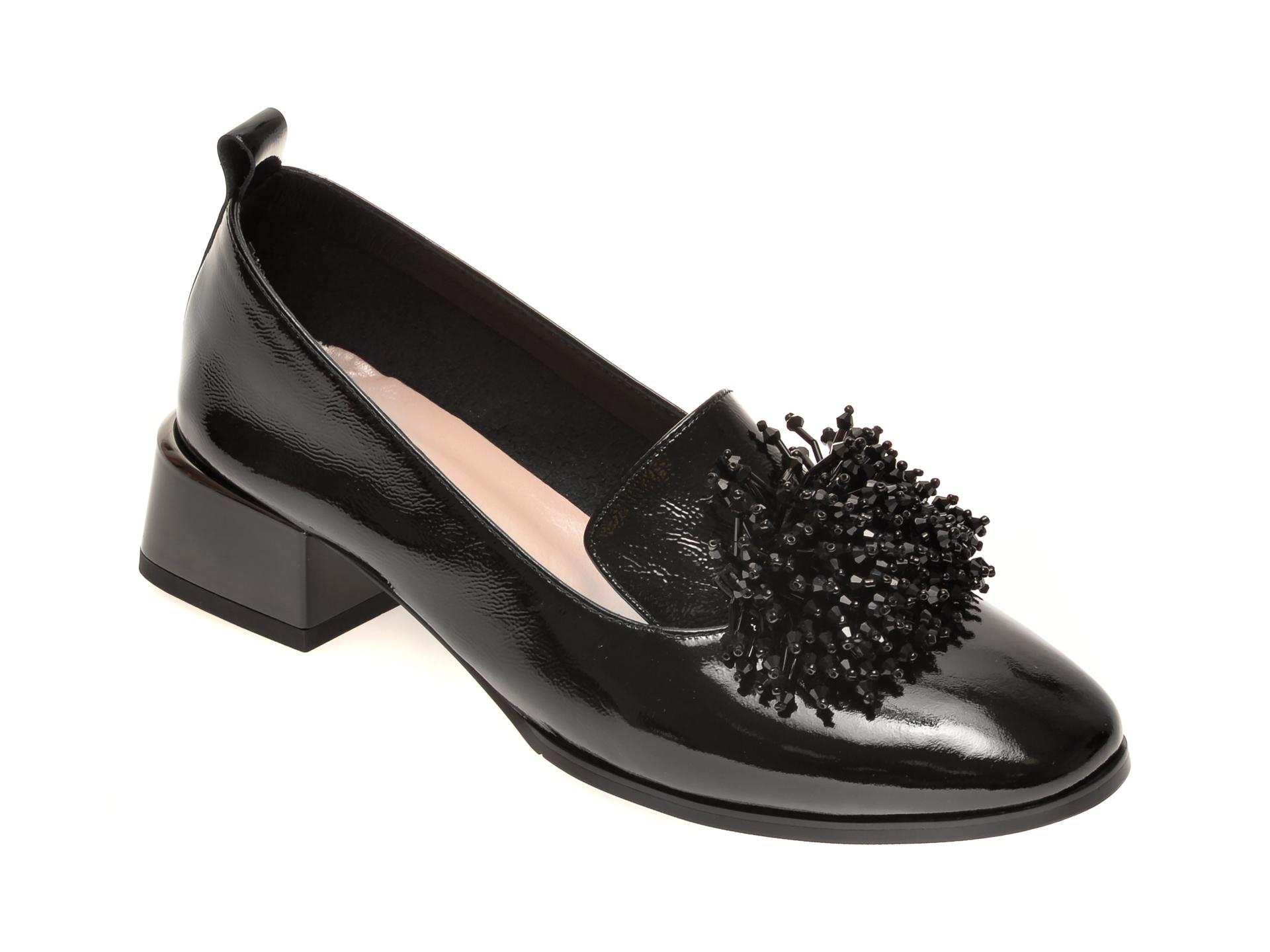 Pantofi EPICA negri, 3750, din piele naturala lacuita