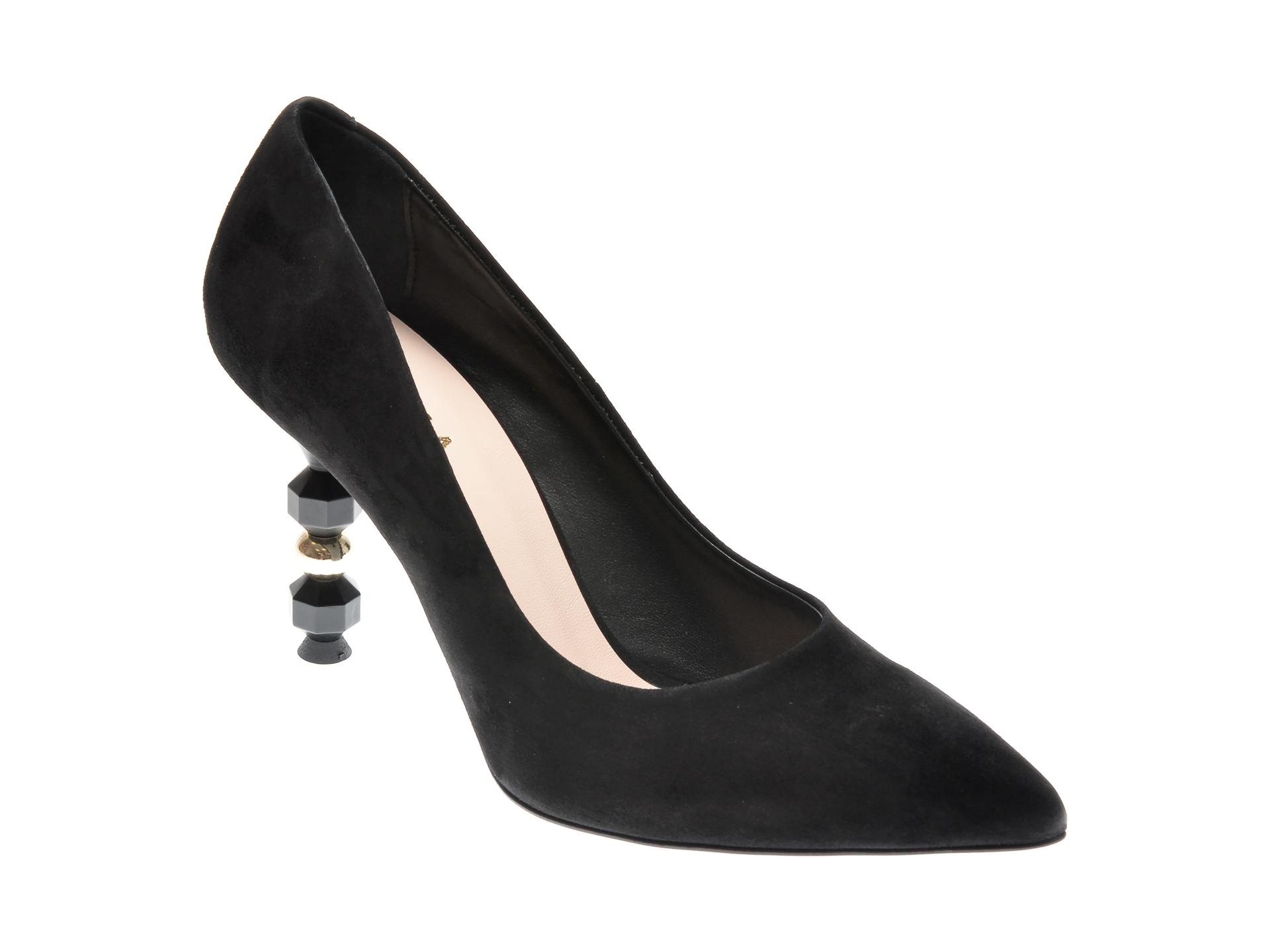 Pantofi EPICA negri, 4217, din piele intoarsa
