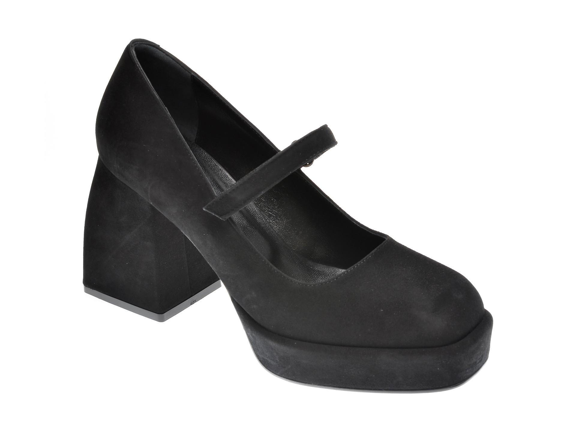 Pantofi EPICA negri, 4452, din piele intoarsa imagine