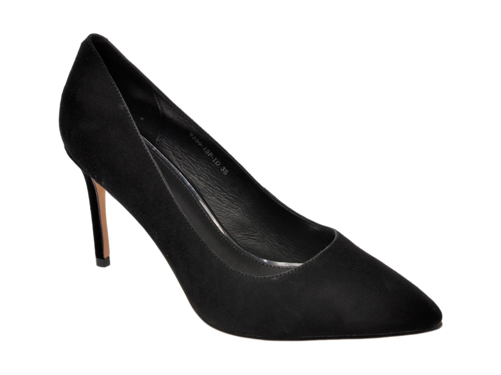 Pantofi EPICA negri, 935015, din piele intoarsa New