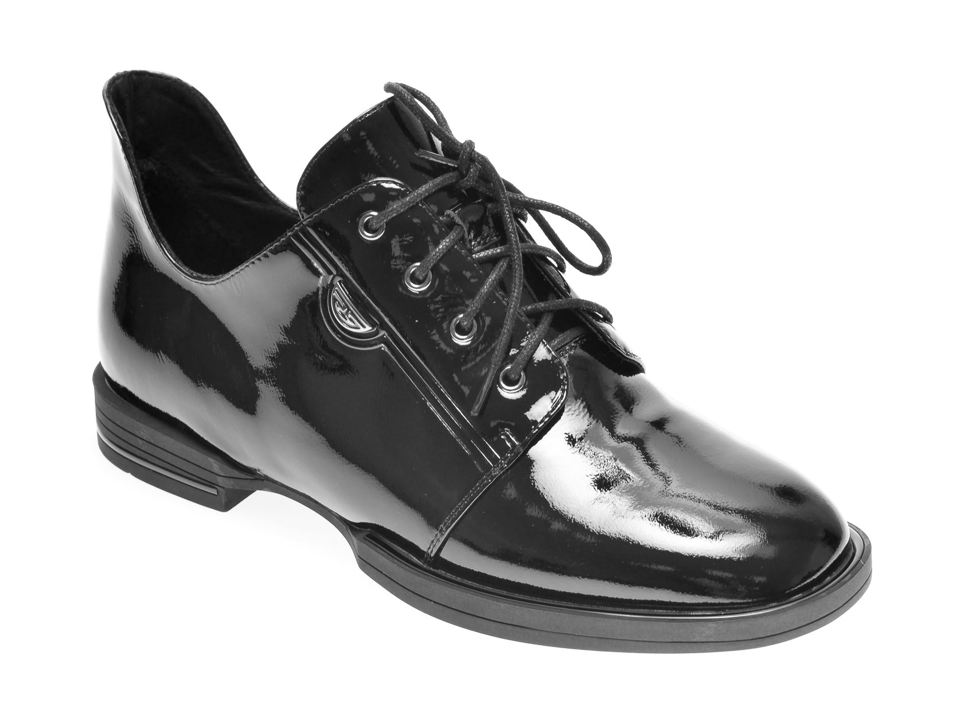 Pantofi EPICA negri, 98333, din piele naturala lacuita